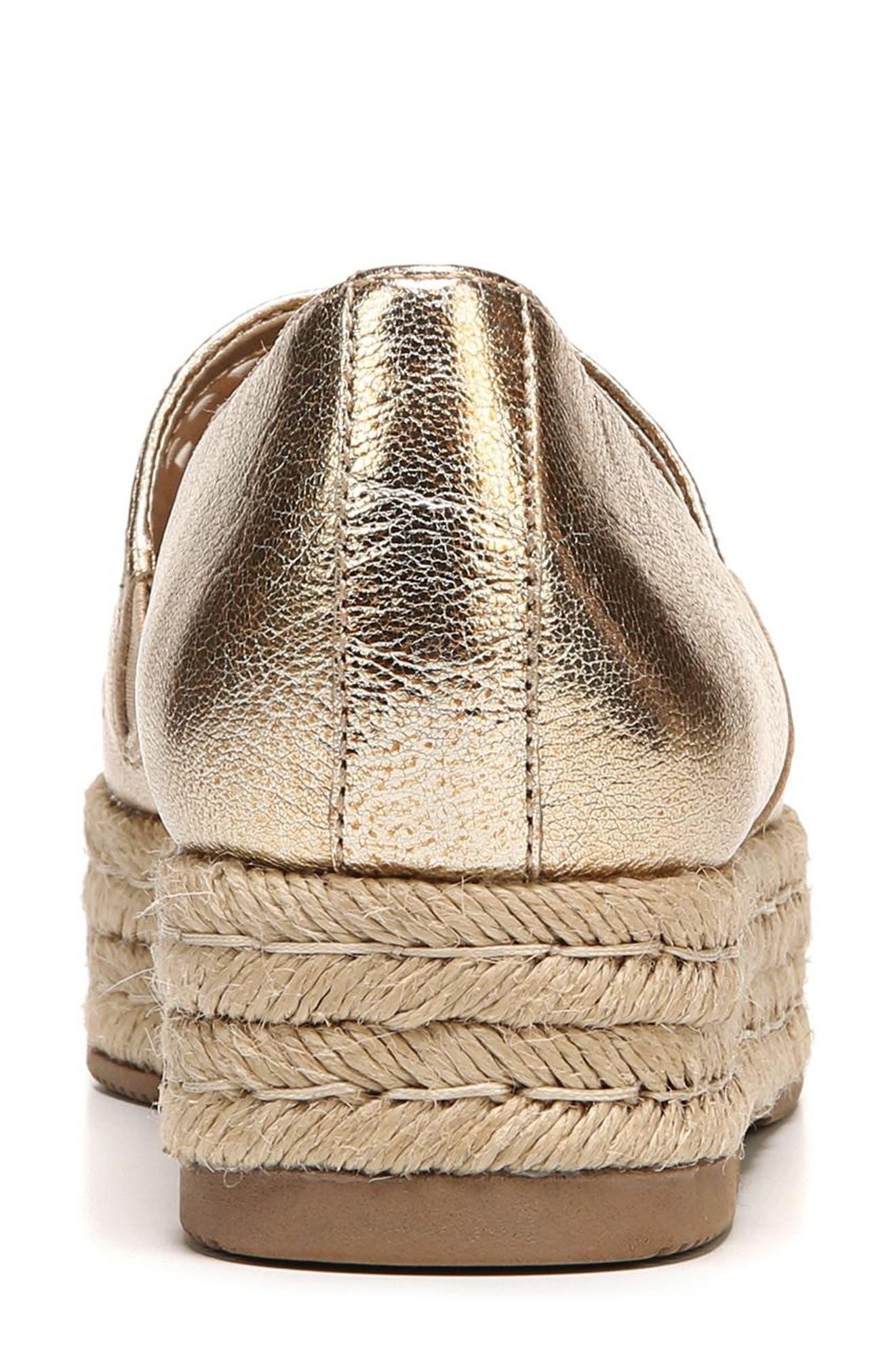 Thea Perforated Platform Espadrille,                             Alternate thumbnail 6, color,                             Platino Leather