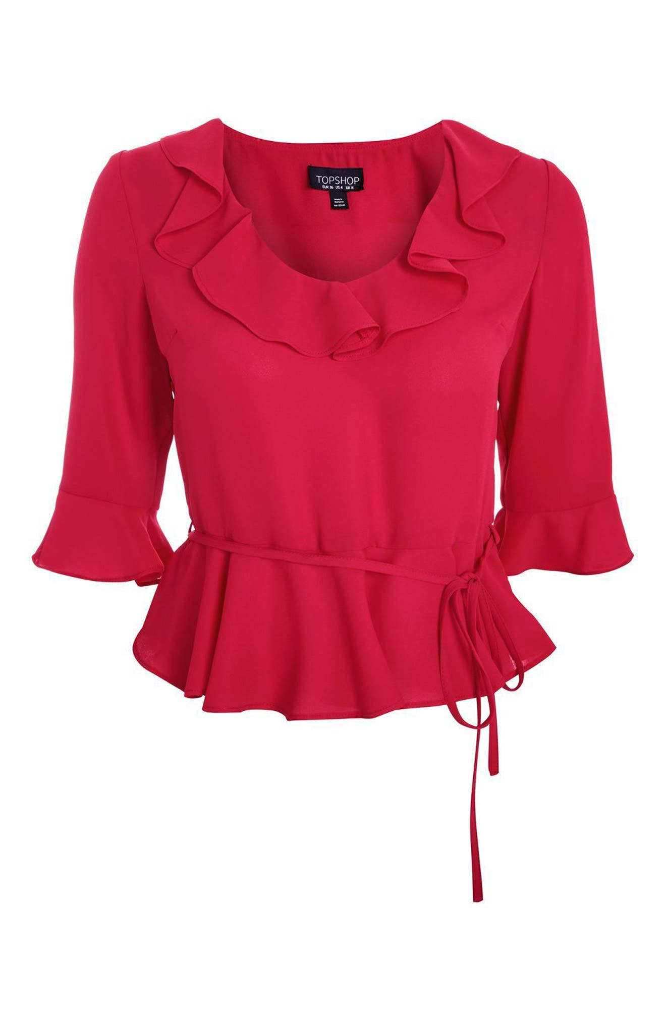 Phoebe Frilly Blouse,                             Alternate thumbnail 4, color,                             Red