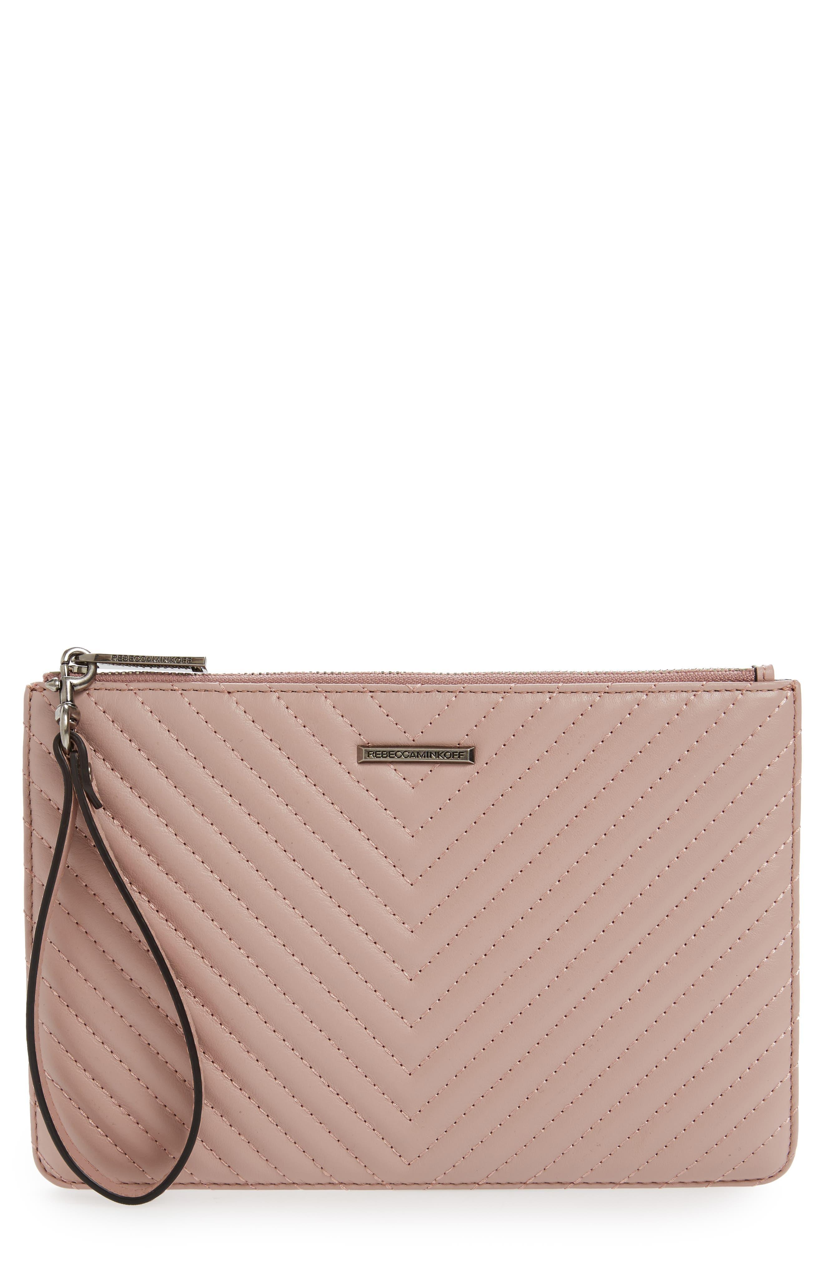 Leather Wristlet,                         Main,                         color, Vintage Pink