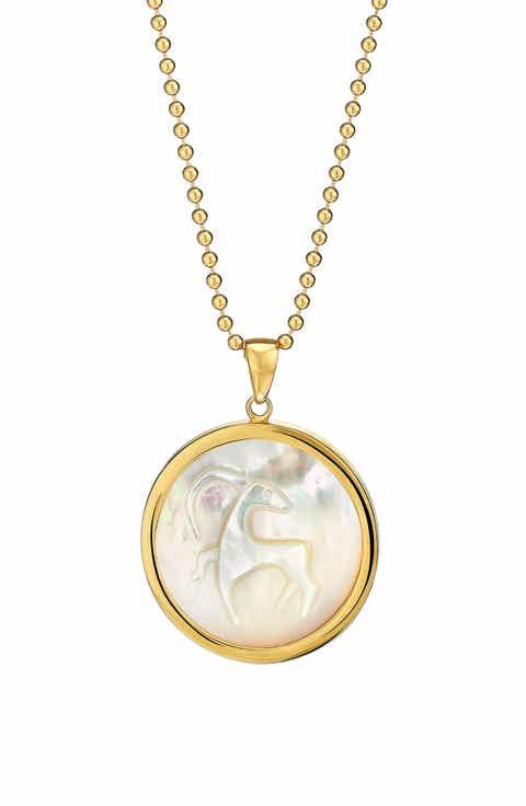 Zodiac capricorn pendant necklace nordstrom asha zodiac mother of pearl pendant necklace aloadofball Choice Image