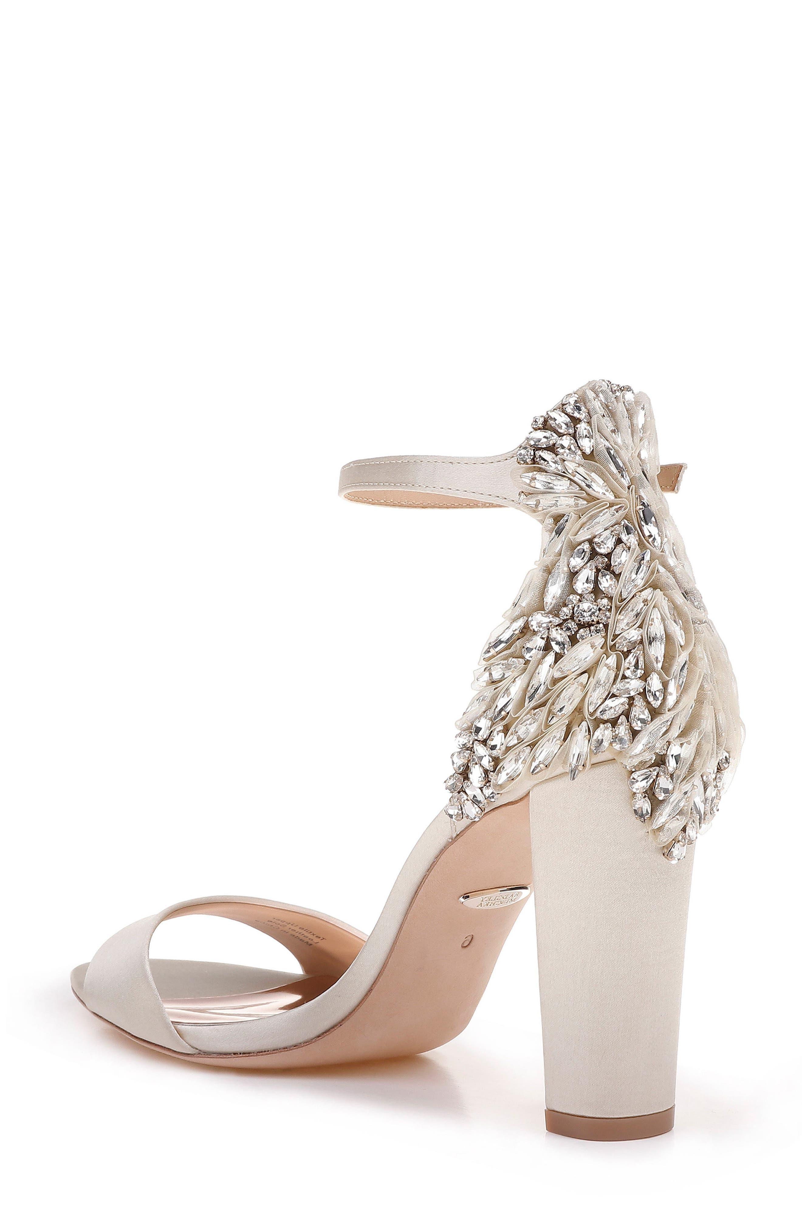 Badgley Mischka Women's Seina Embellished Satin Ankle Strap Sandals 7tv5f8f