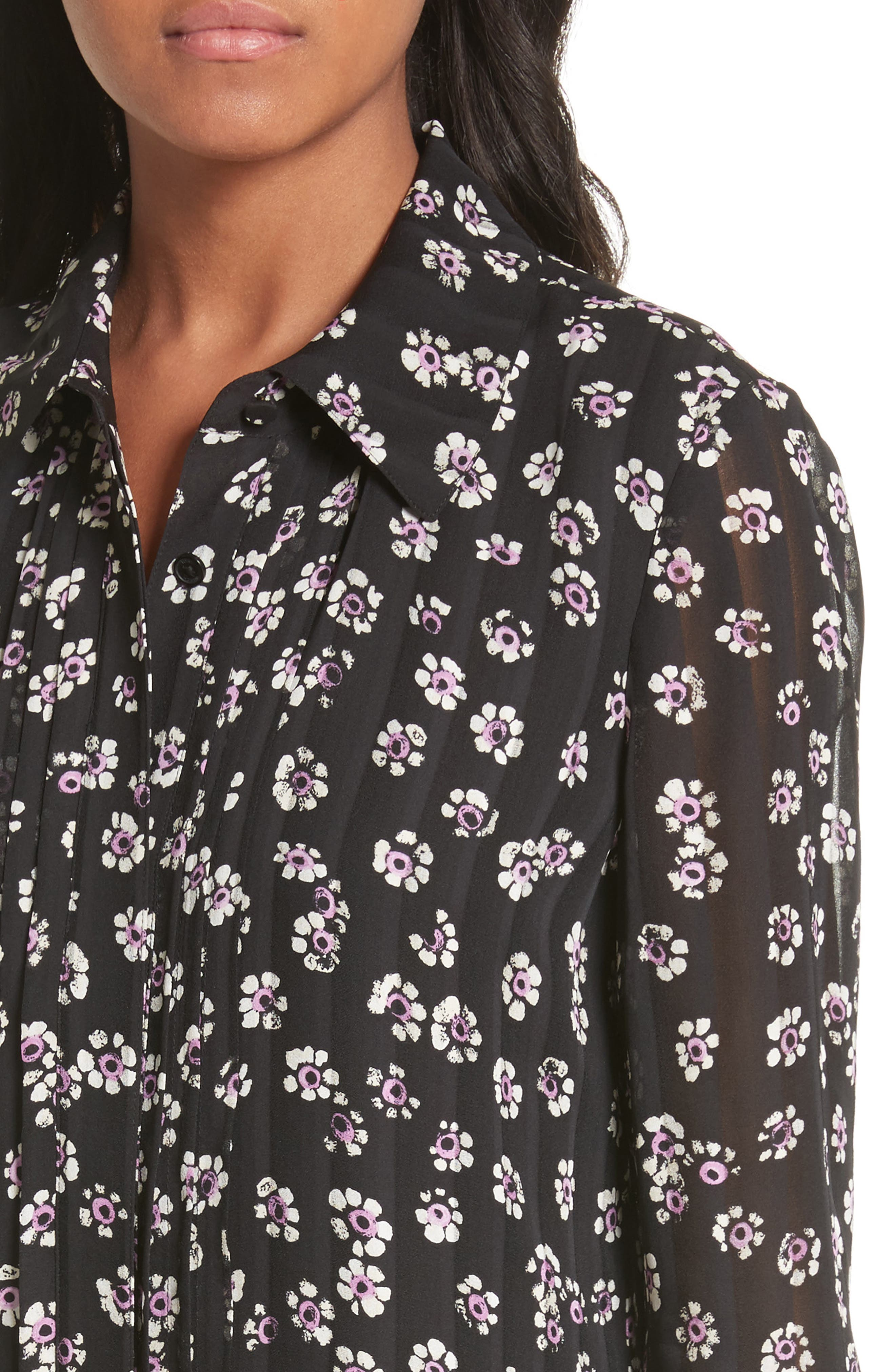 Avery Floral Silk Shirtdress,                             Alternate thumbnail 4, color,                             Black Stamped Floral