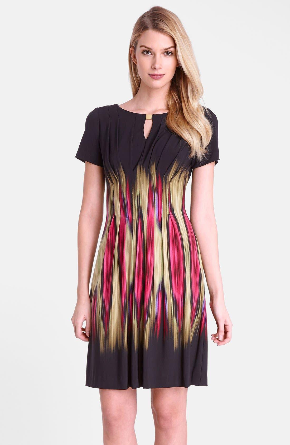 Main Image - Tahari 'Blur' Print Split Neck Sheath Dress (Regular & Petite)