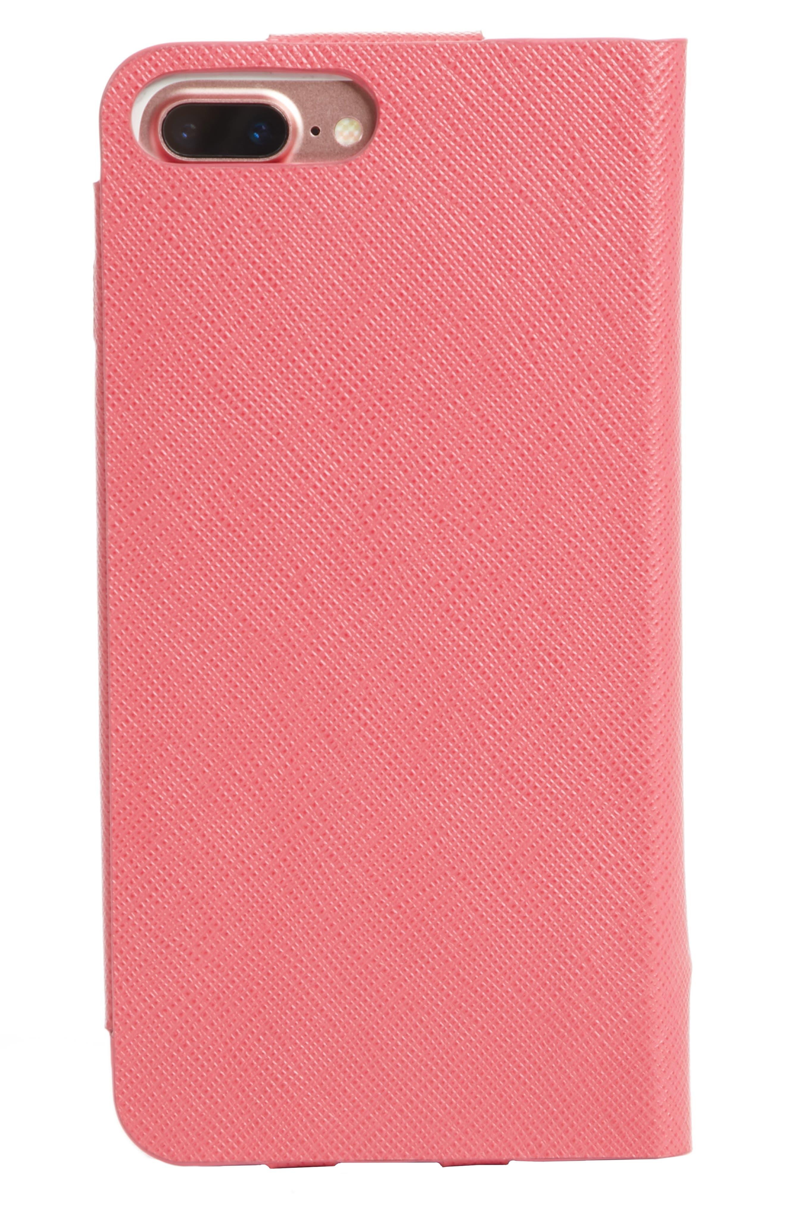 Saffiano Metal Oro Book iPhone 7 Plus Wallet,                             Alternate thumbnail 2, color,                             Peonia