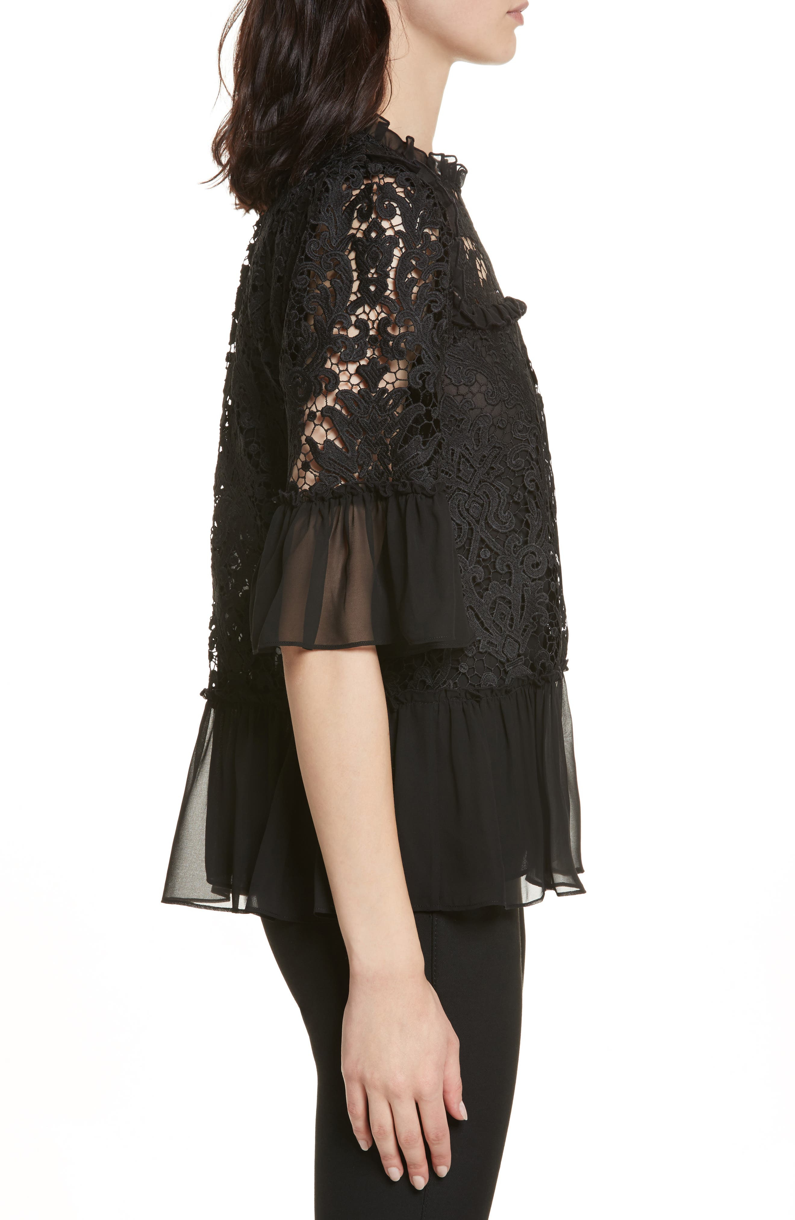 kate spade tapestry lace top,                             Alternate thumbnail 3, color,                             Black
