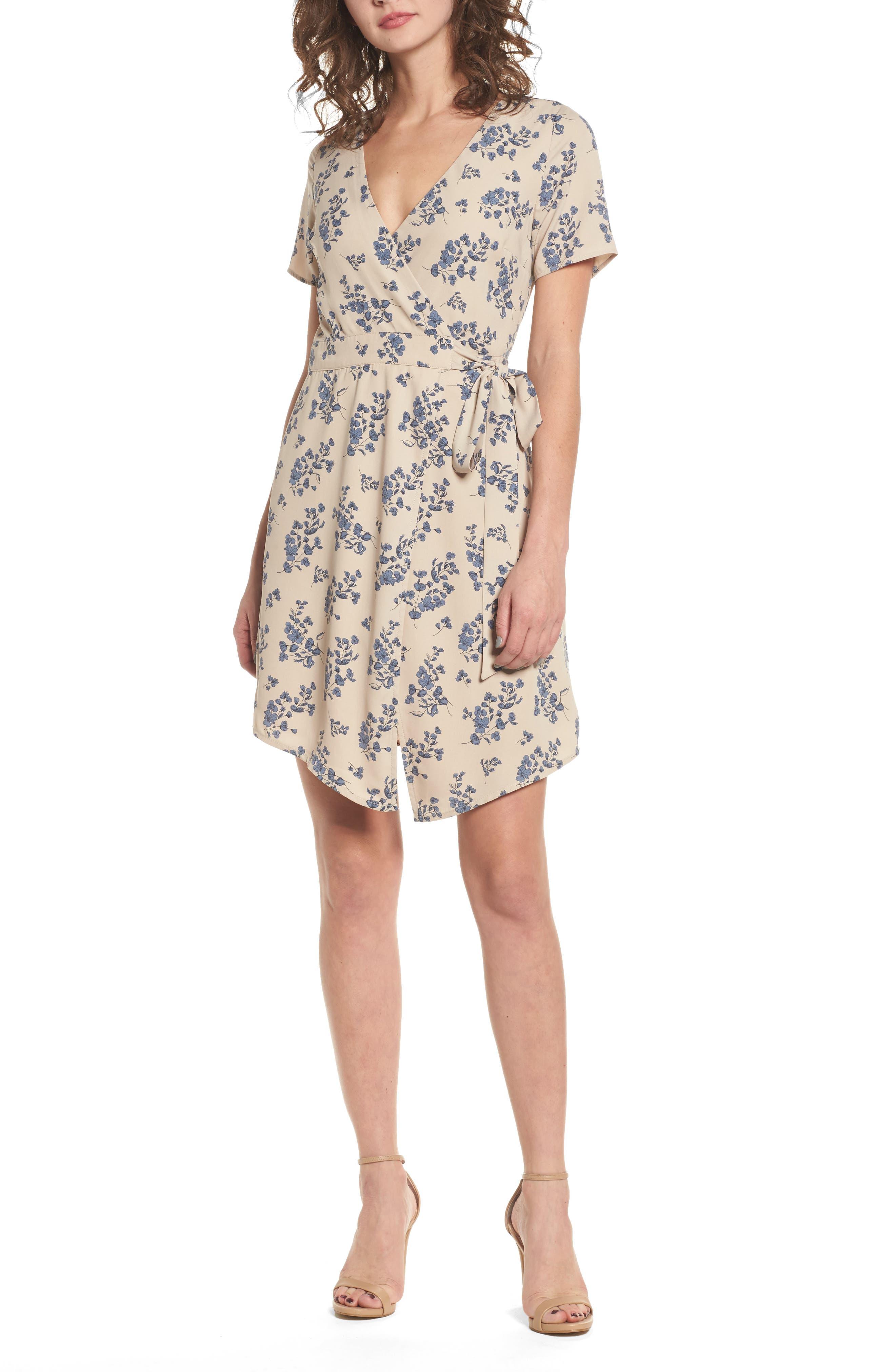 Floral Print Wrap Dress,                             Main thumbnail 1, color,                             Taupe Floral