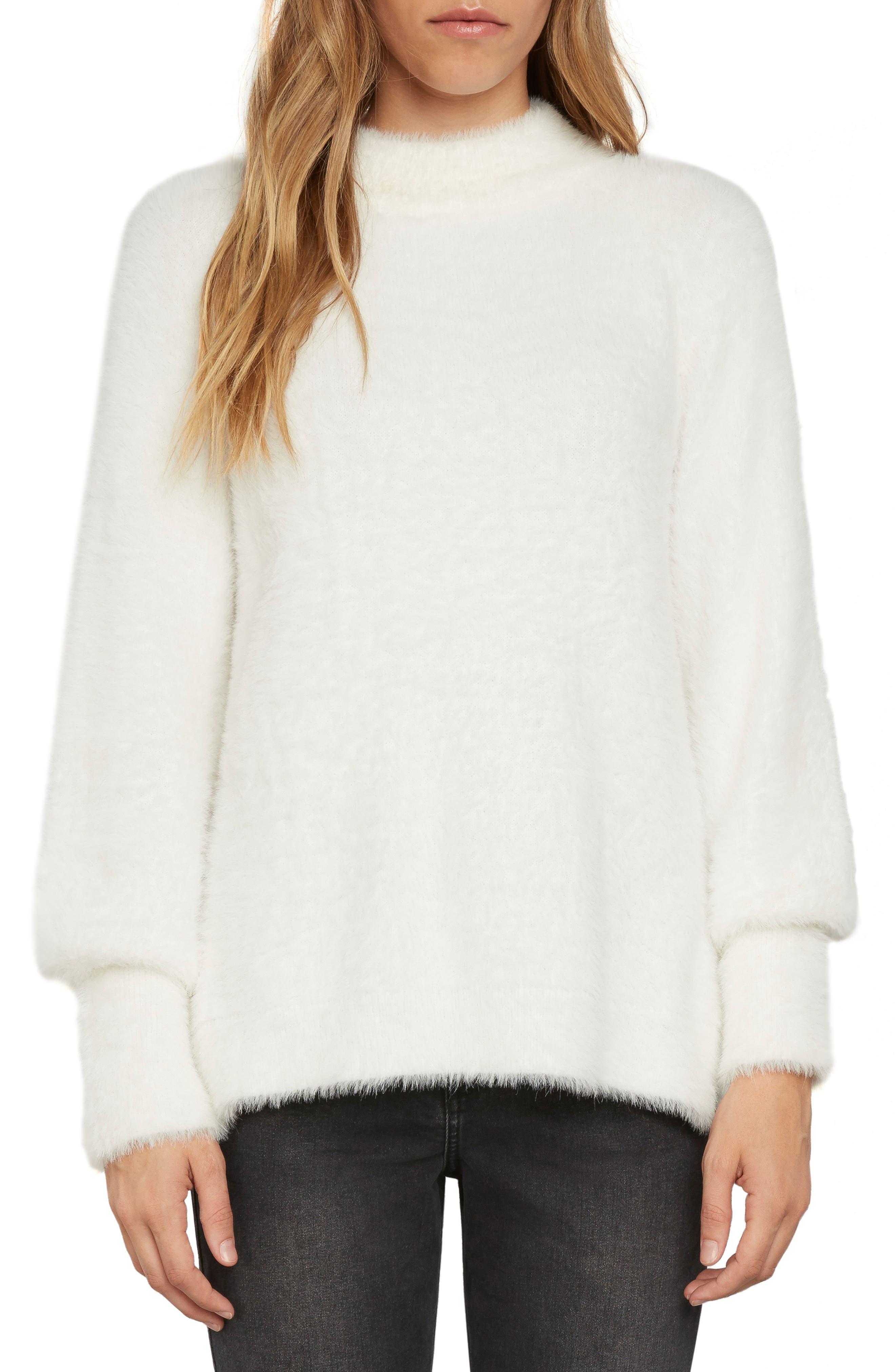 Fuzzy Mock Neck Sweater,                         Main,                         color, Vellum