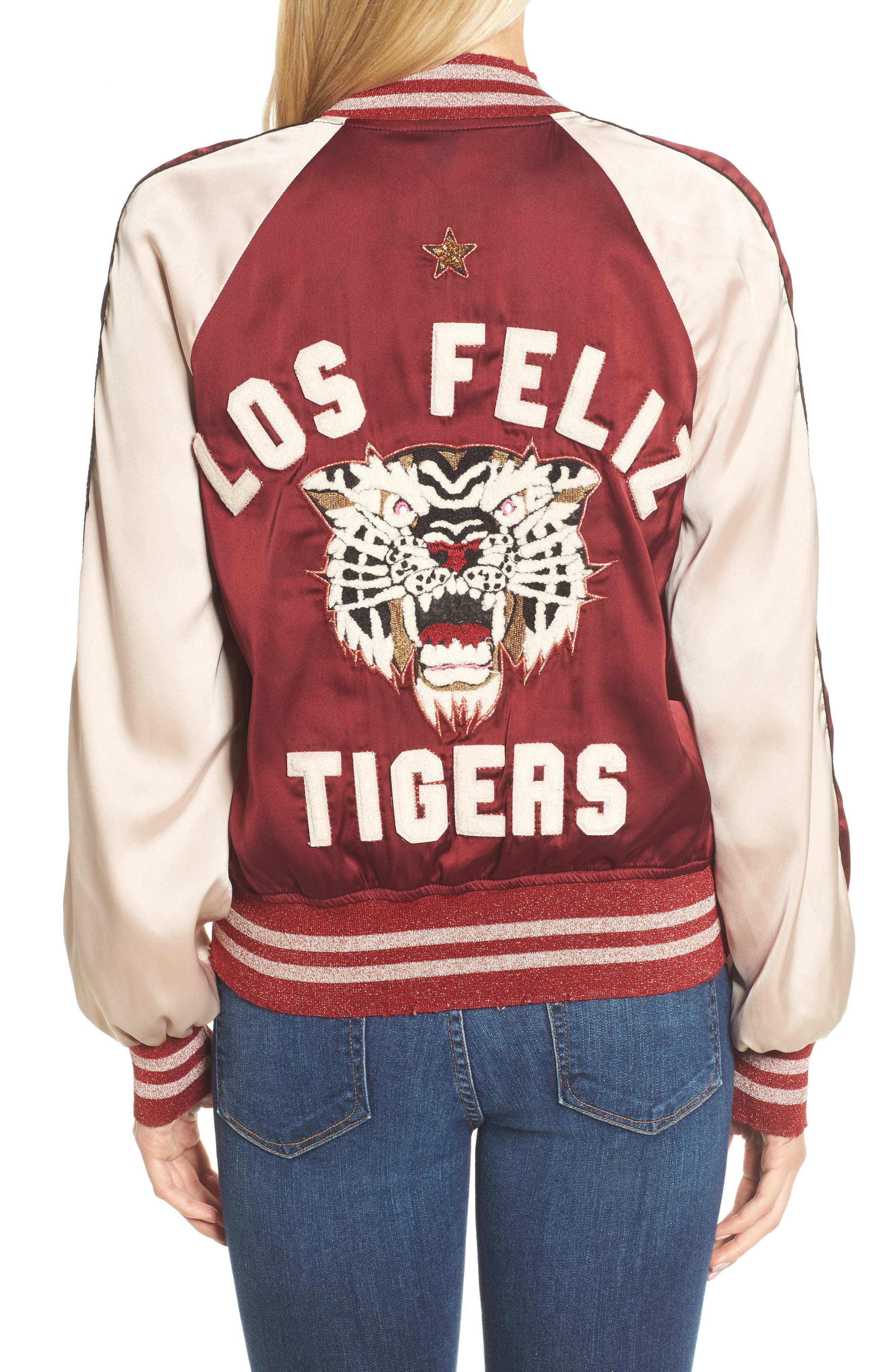 Los Feliz Tigers Bomber Jacket,                             Alternate thumbnail 2, color,                             Maroon