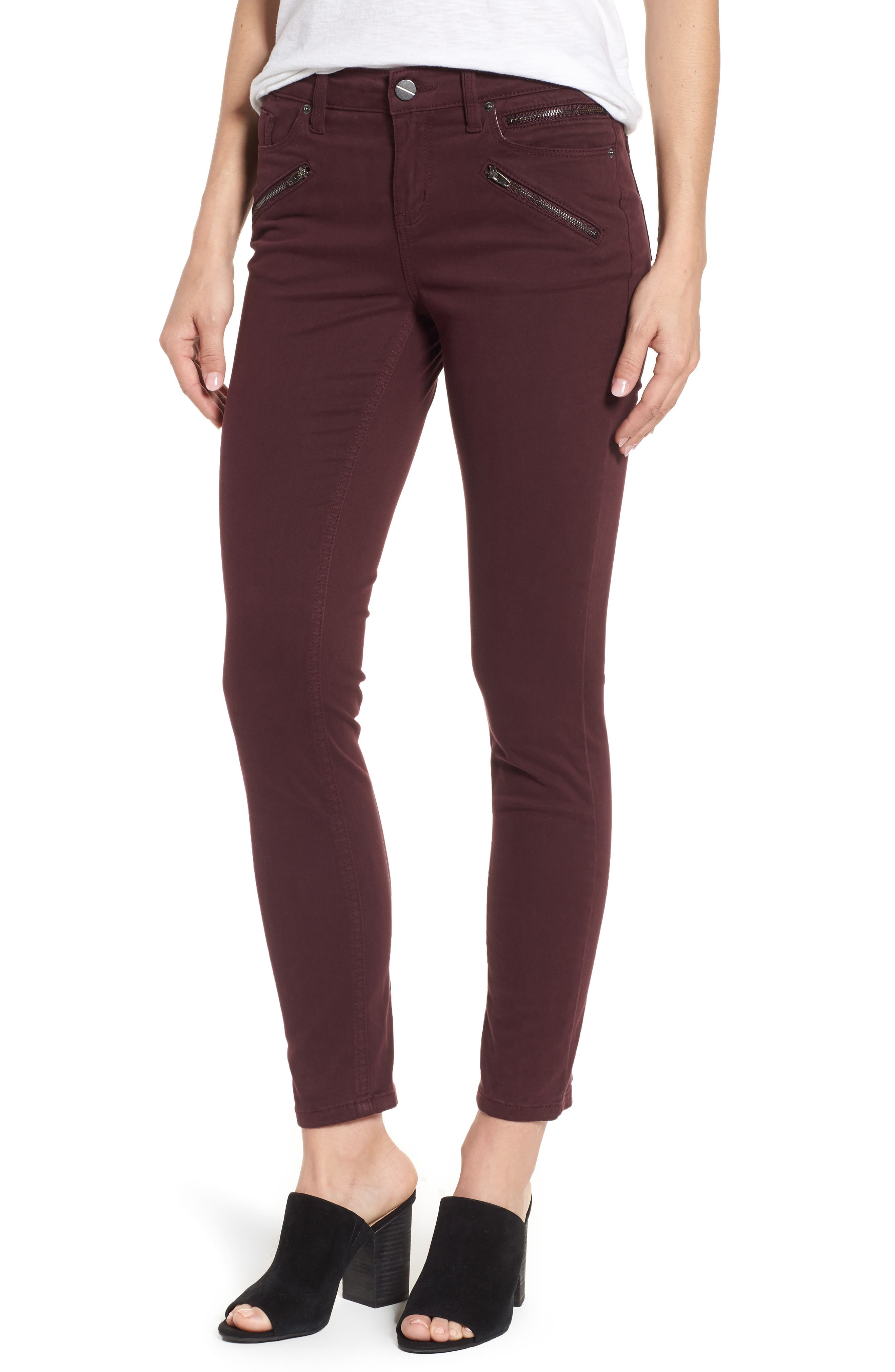 Moto Skinny Jeans,                         Main,                         color, Port