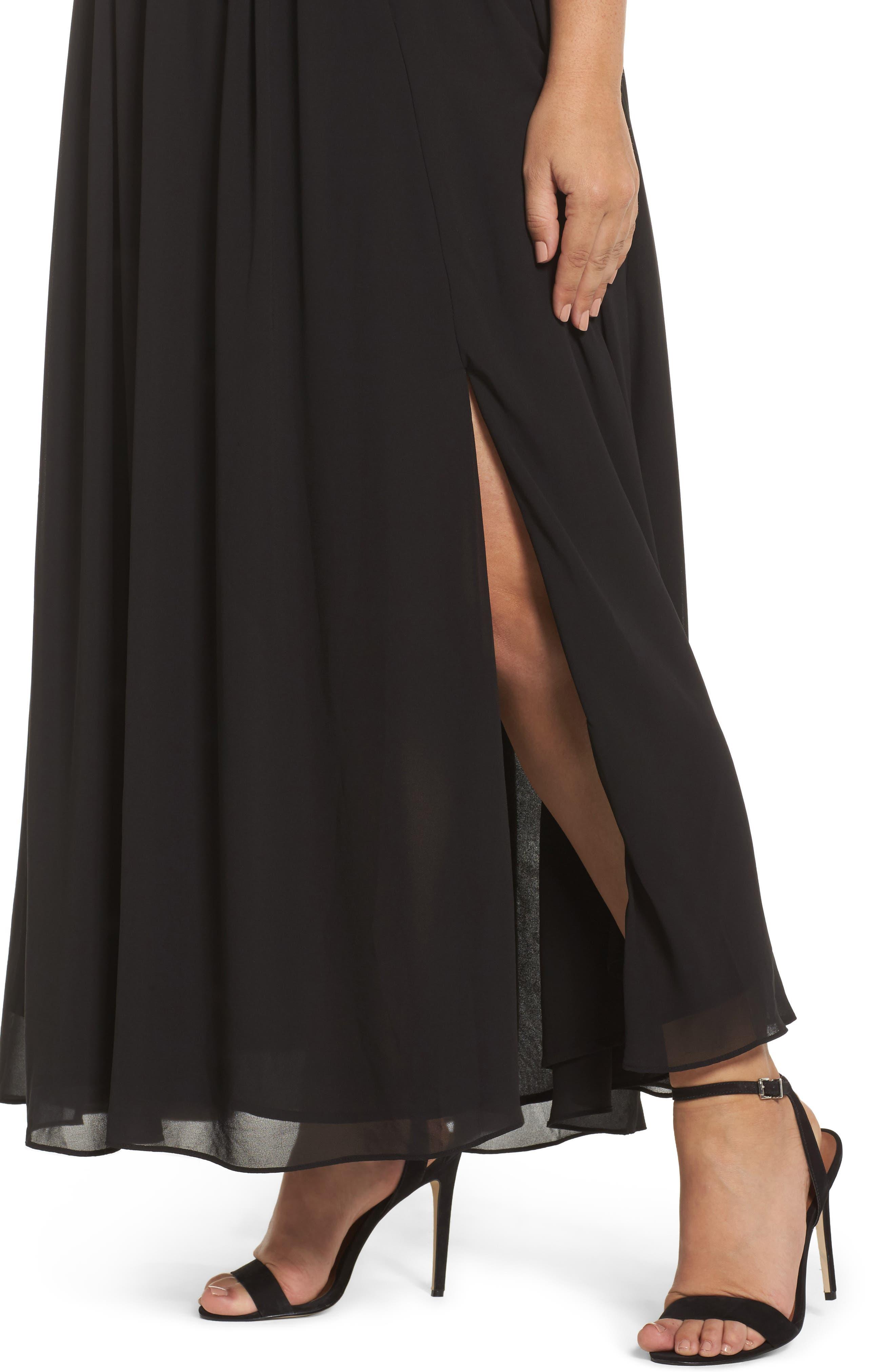 Lace Inset Maxi Dress,                             Alternate thumbnail 4, color,                             Black