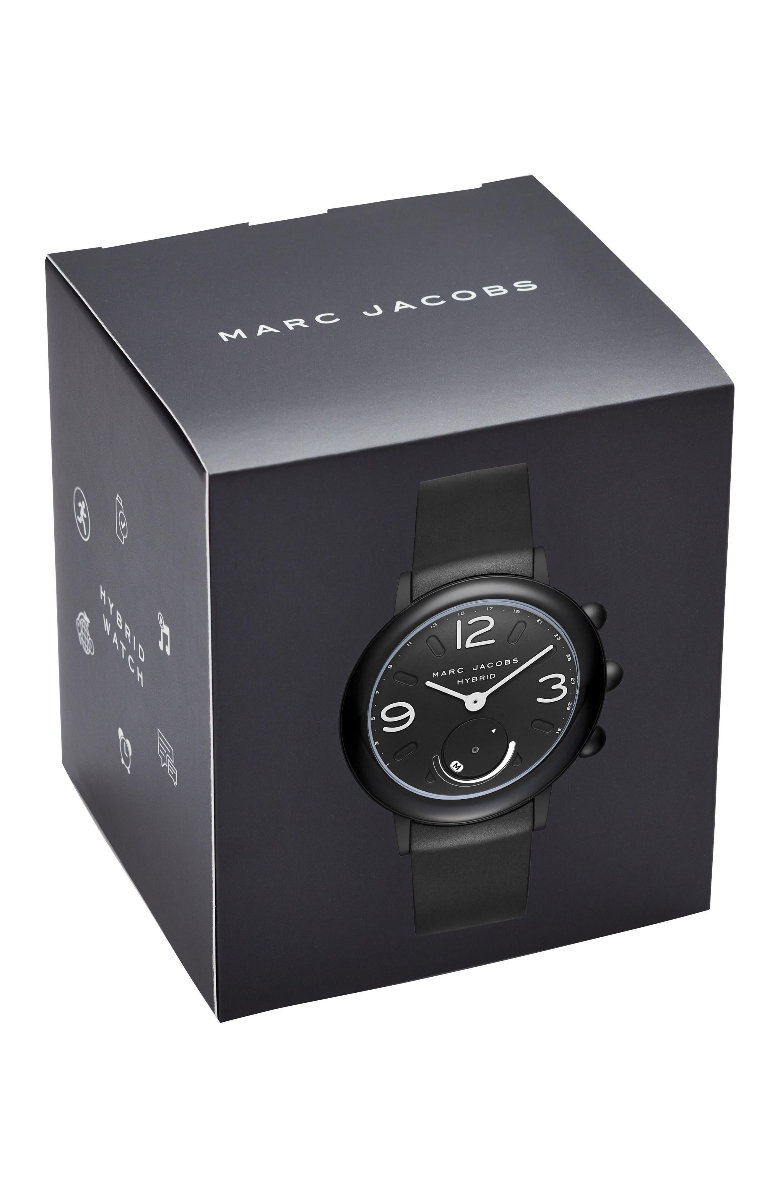 Riley Hybrid Rubber Strap Watch, 42mm,                             Alternate thumbnail 3, color,                             Black