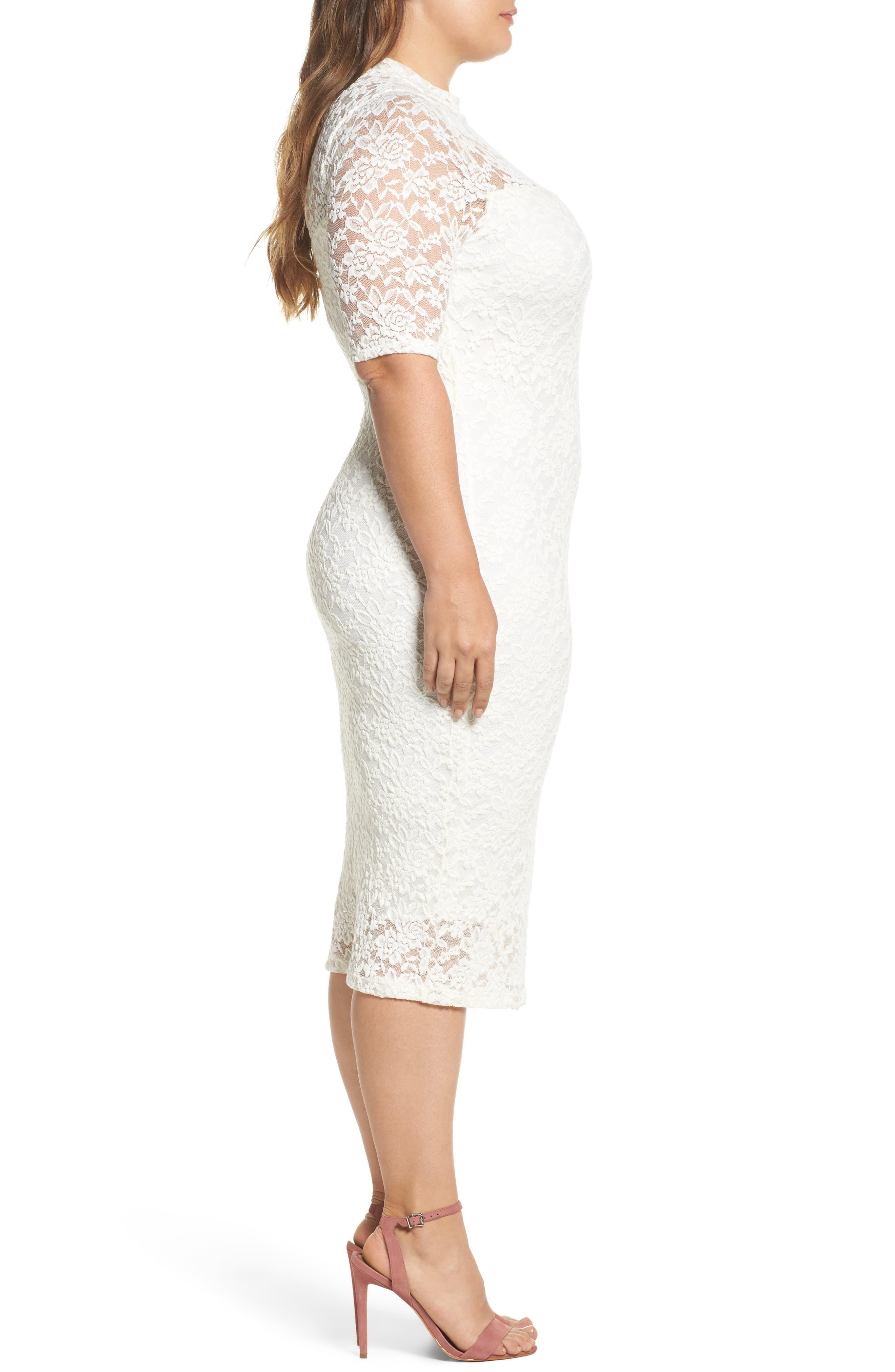 Lace Body-Con Midi Dress,                             Alternate thumbnail 3, color,                             Off White