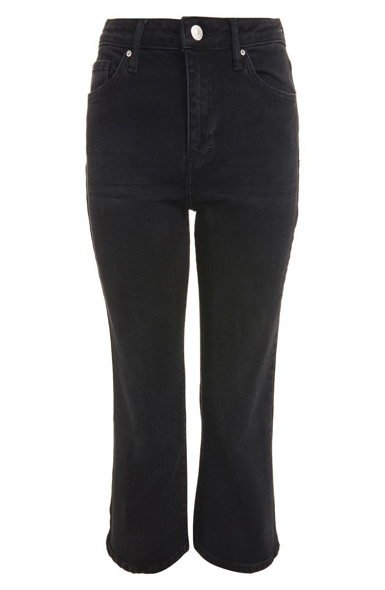 Dree Crop Flare Jeans,                             Alternate thumbnail 3, color,                             Washed Black