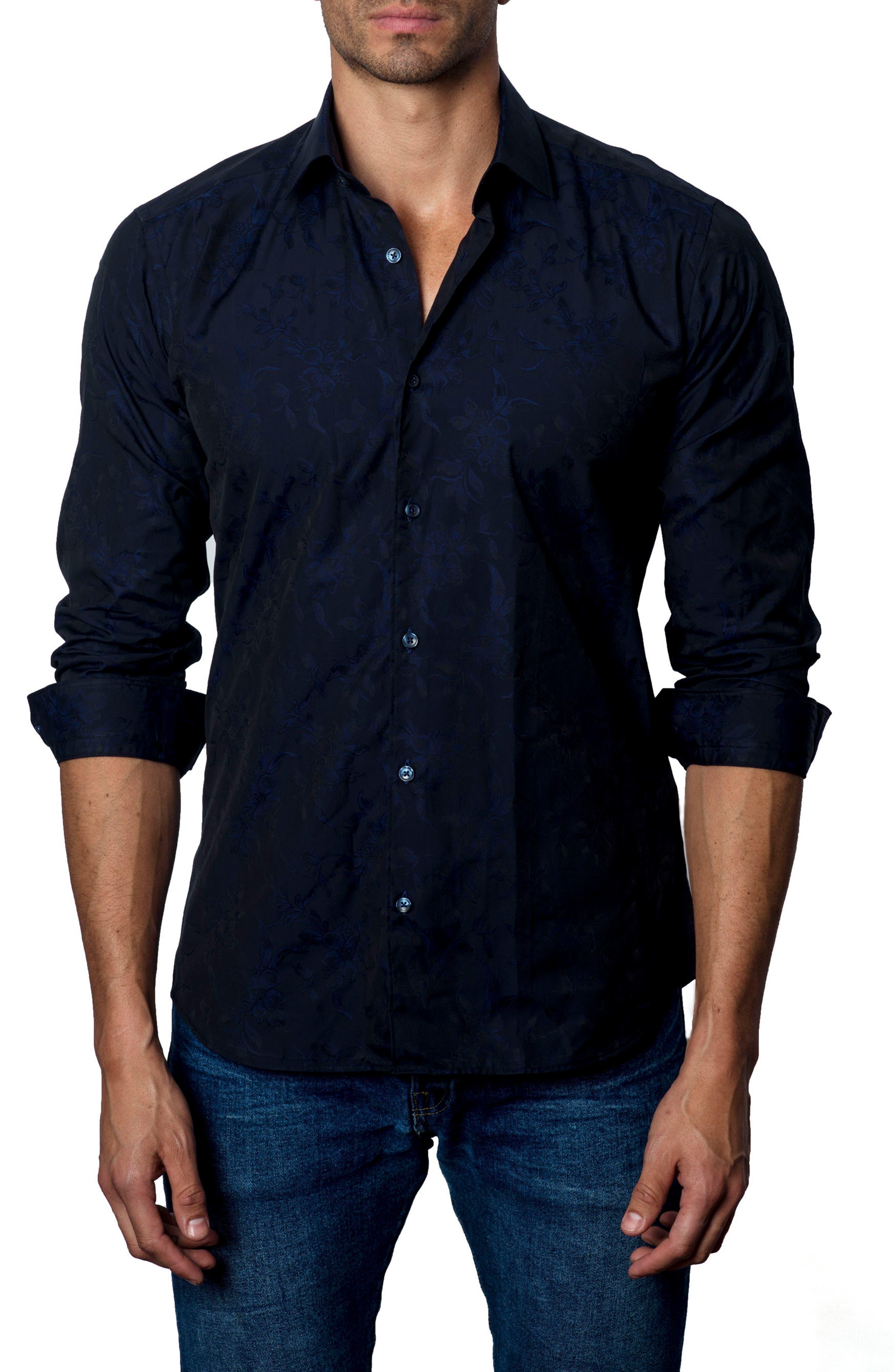 Jared Lang Floral Jacquard Sport Shirt