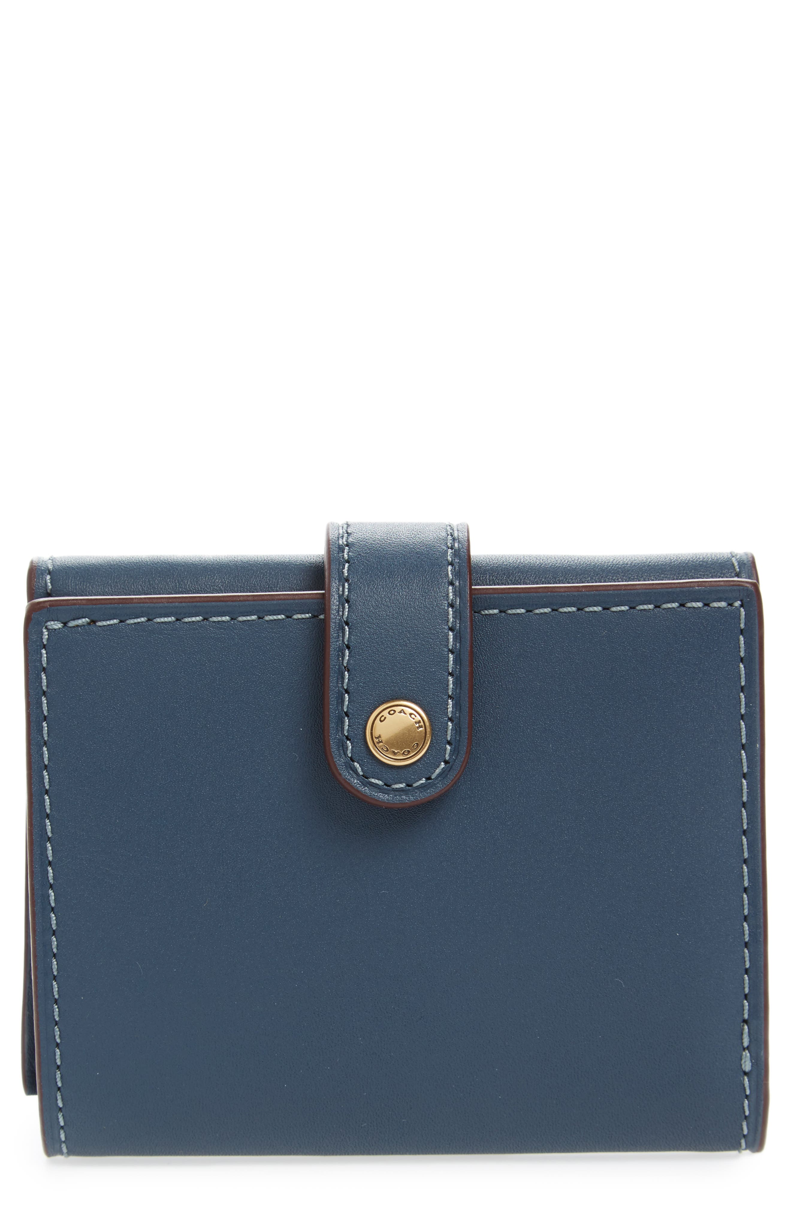Small Leather Trifold Wallet,                         Main,                         color, Dark Denim