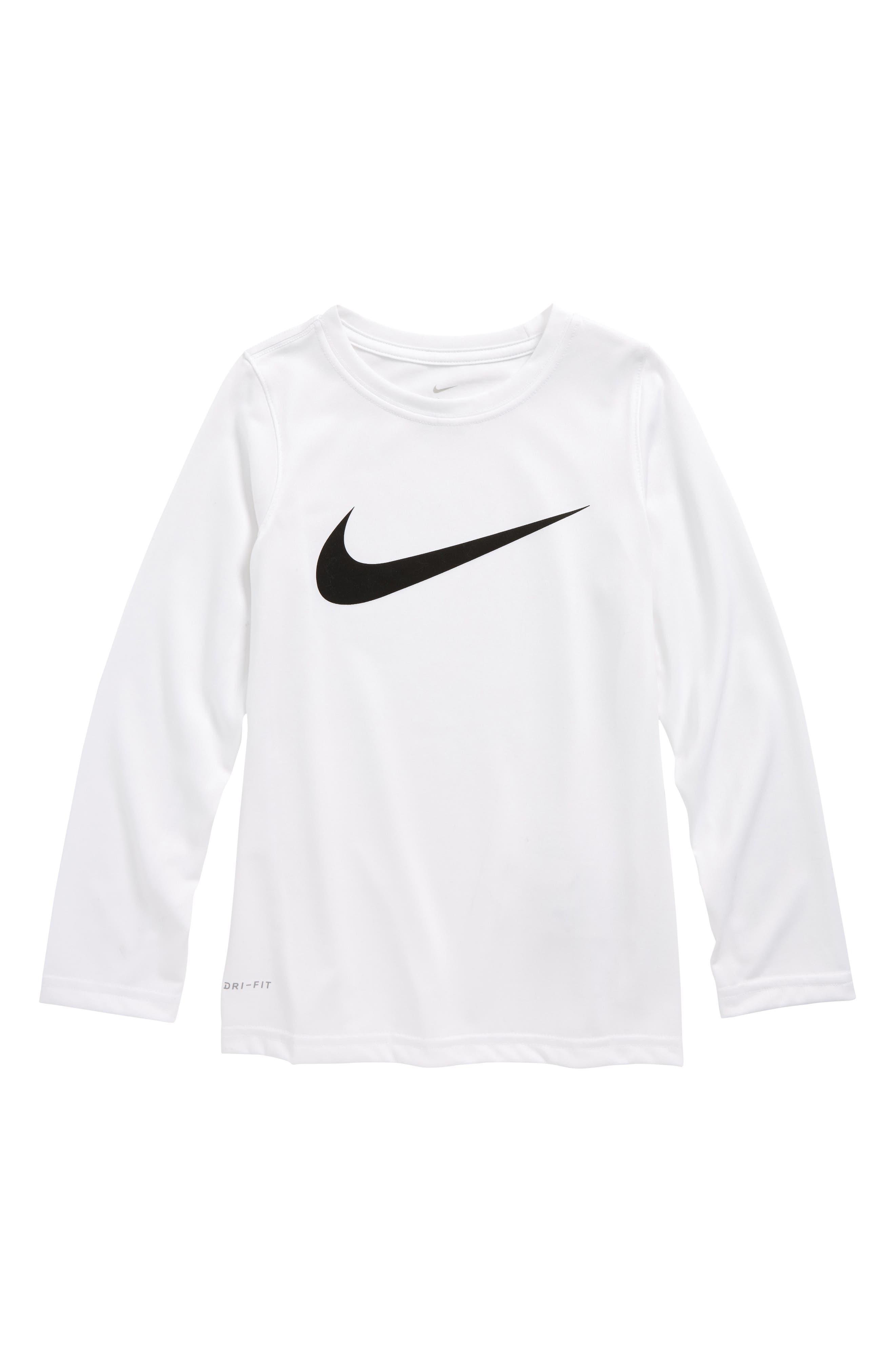 Main Image - Nike Dry Long Sleeve Swoosh Logo T-Shirt (Little Boys & Big Boys)
