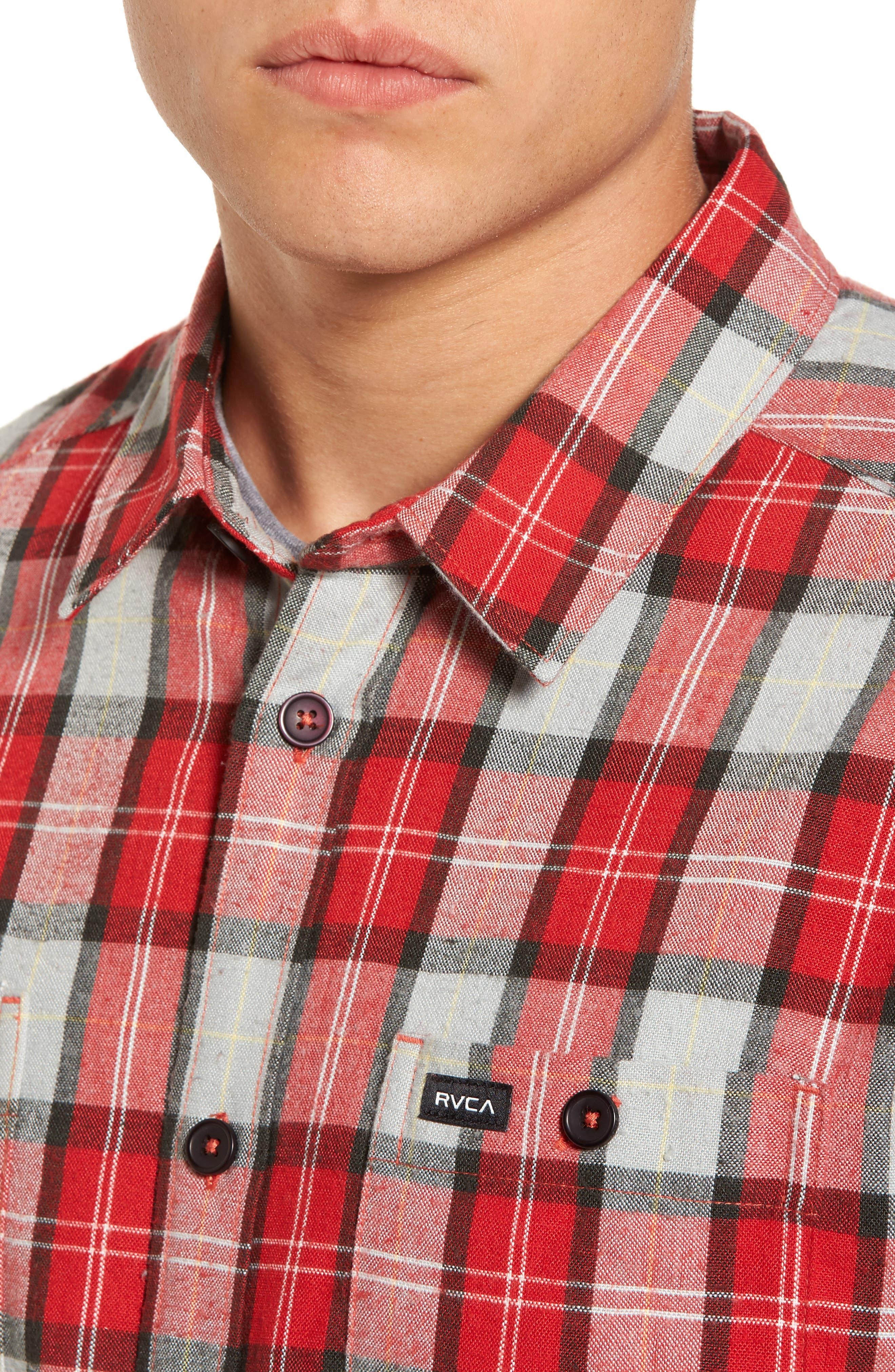 Bone Flannel Shirt,                             Alternate thumbnail 4, color,                             Pompei Red