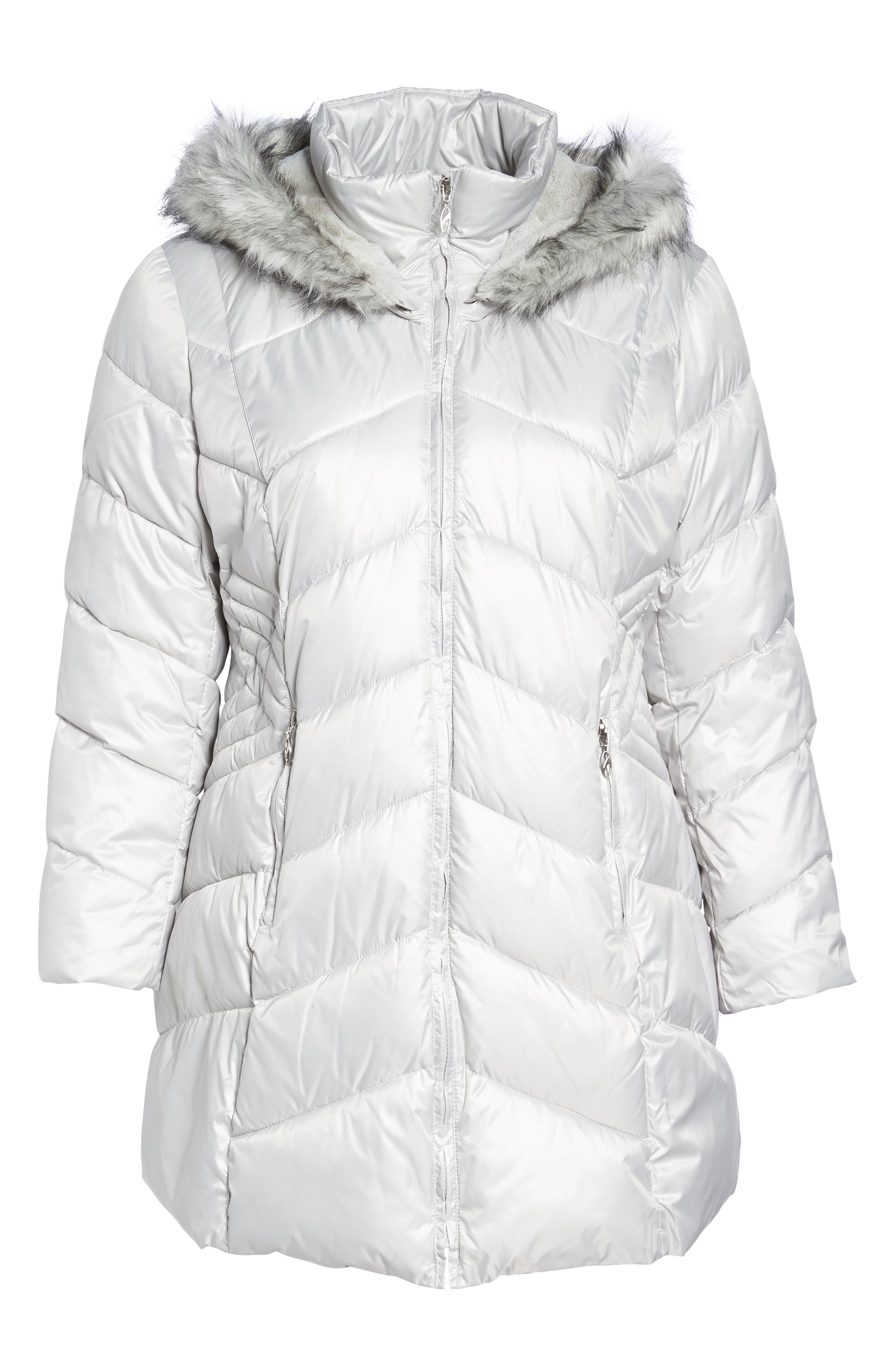 Faux Fur Trim Quilted Parka,                             Alternate thumbnail 6, color,                             Pearl