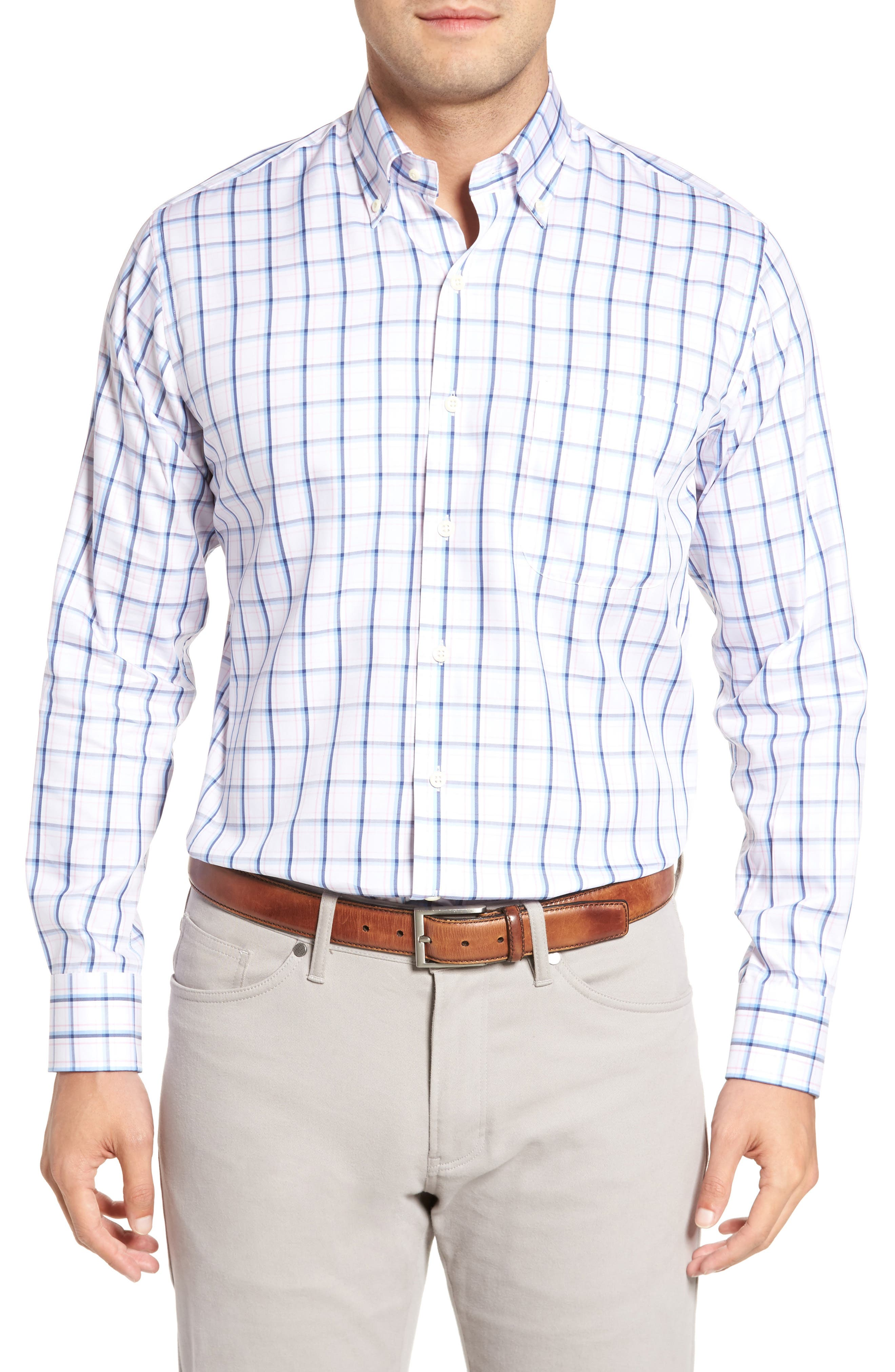 Crown Windowpane Sport Shirt,                         Main,                         color, Tahoe Blue