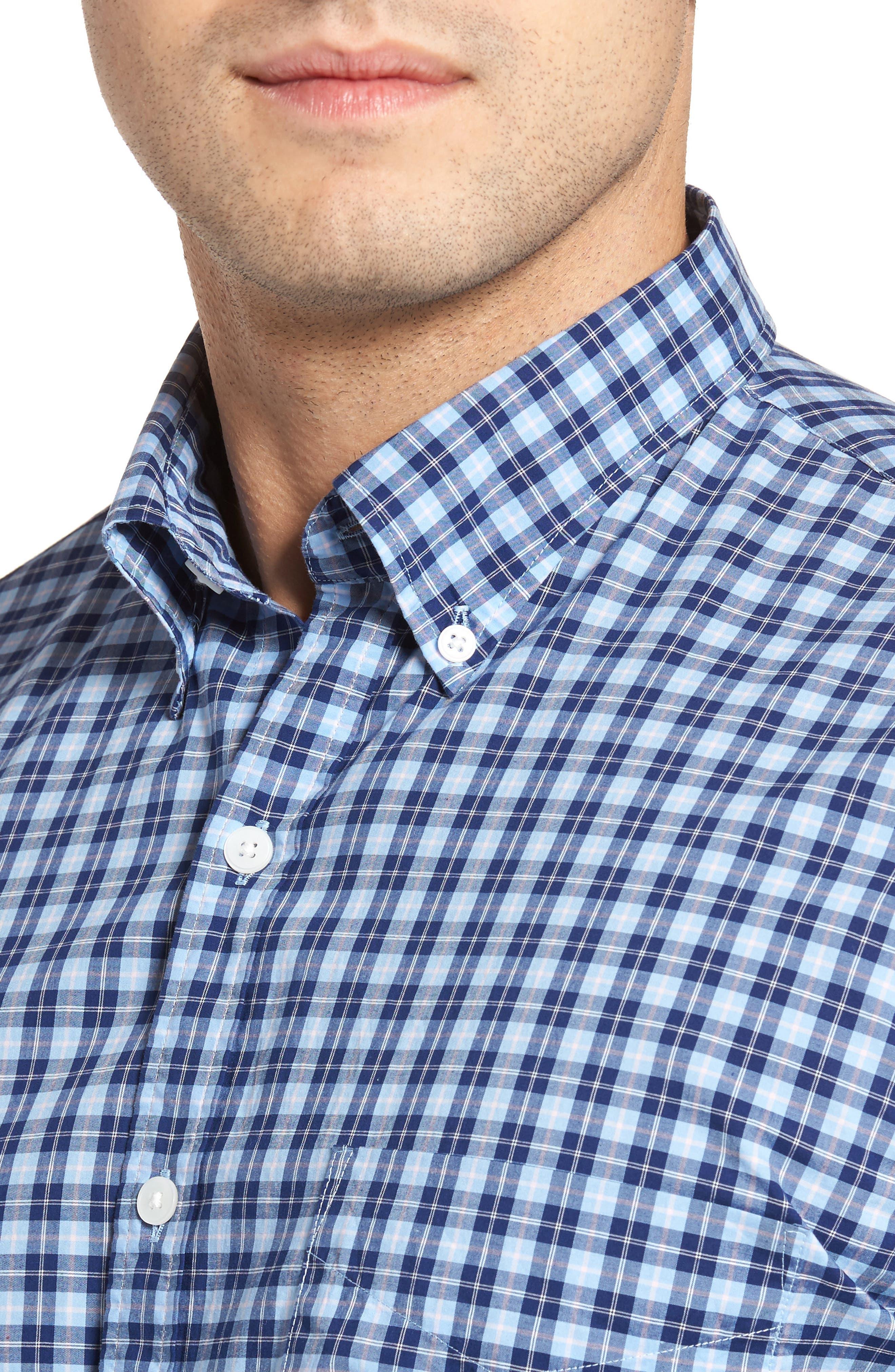 Crown Vintage Regular Fit Mini Plaid Sport Shirt,                             Alternate thumbnail 4, color,                             Tahoe Blue