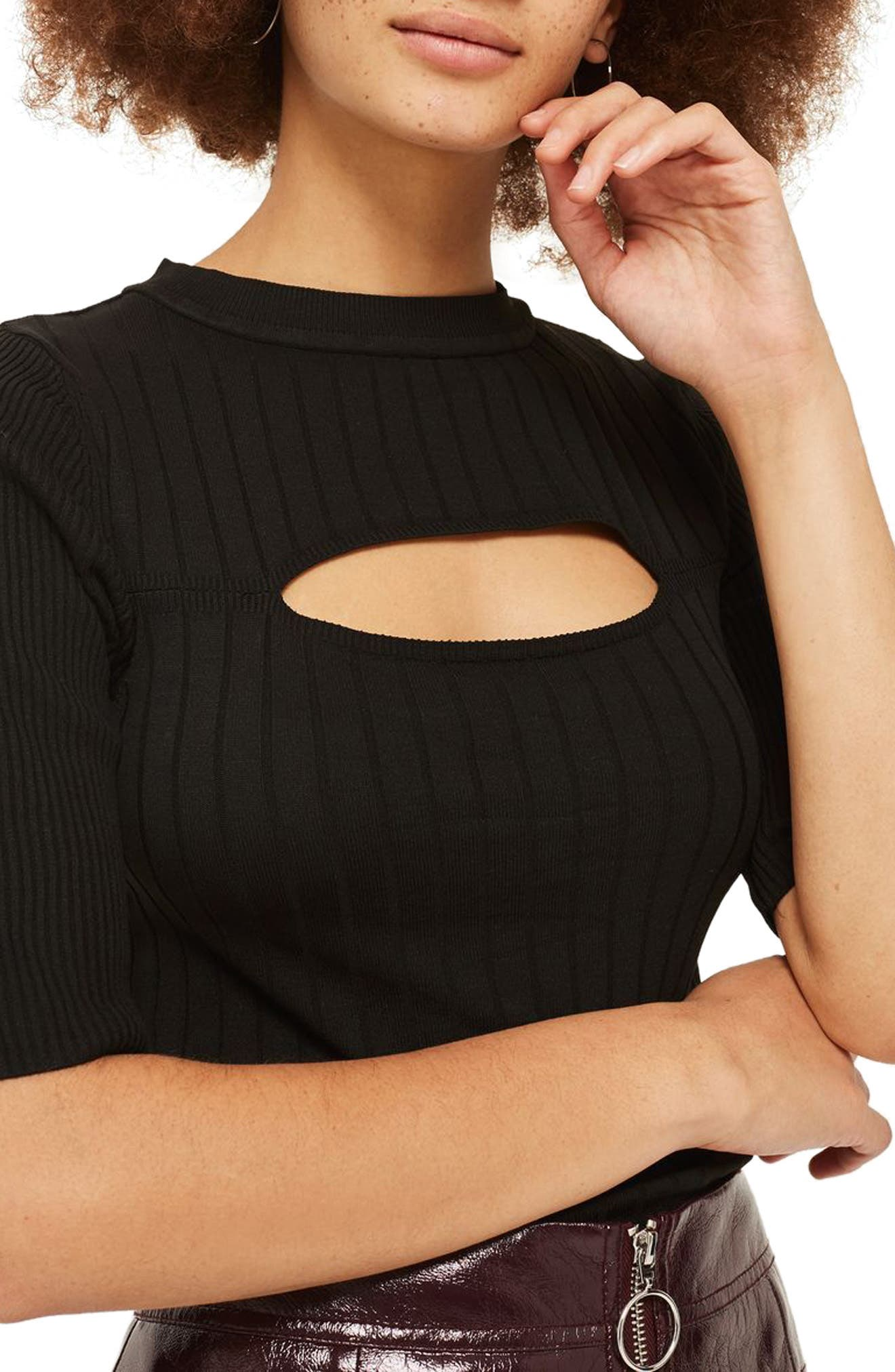 Spliced Rib Knit Top,                             Alternate thumbnail 3, color,                             Black