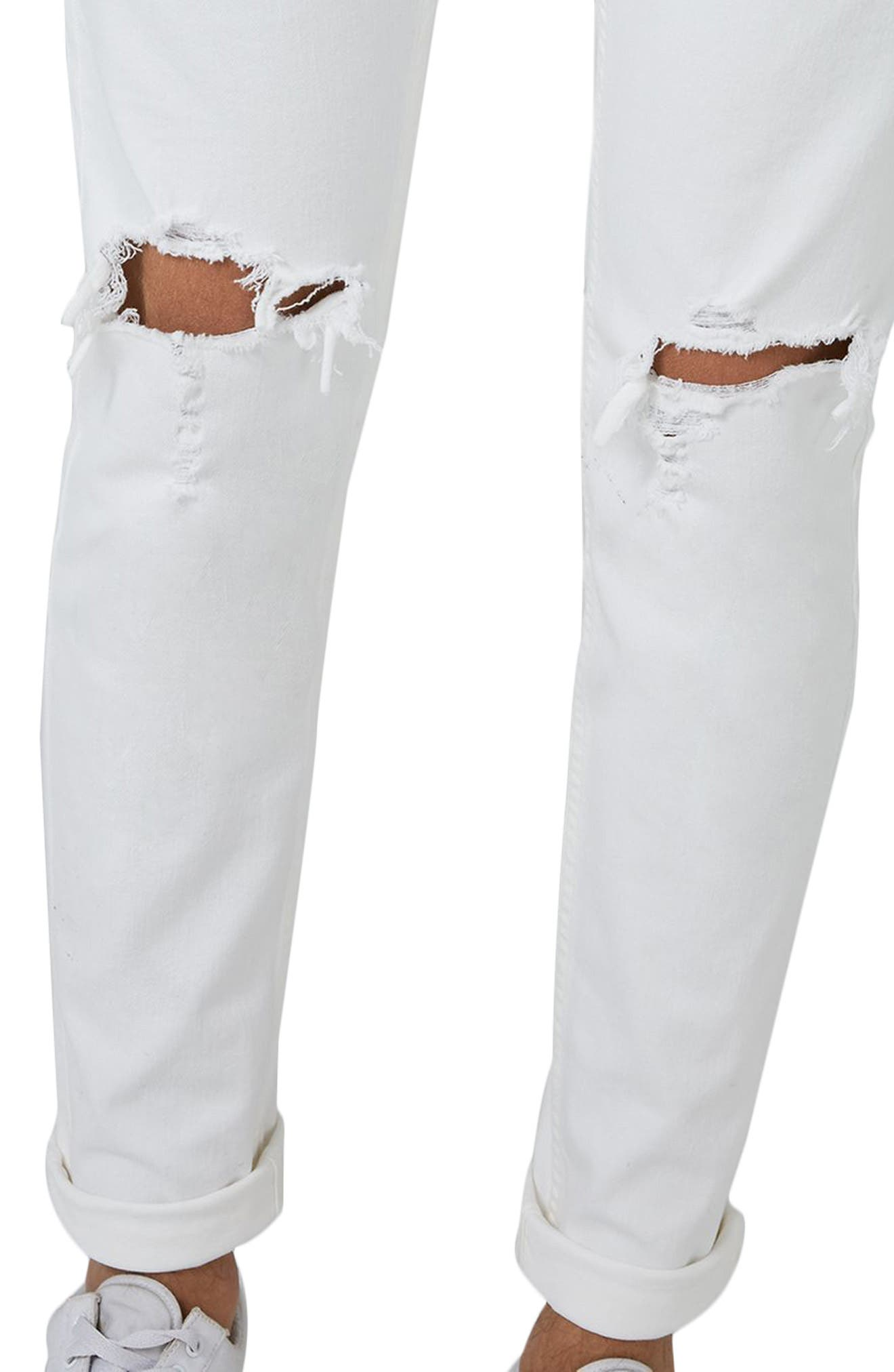 Ripped Skinny Jeans,                             Alternate thumbnail 3, color,                             White