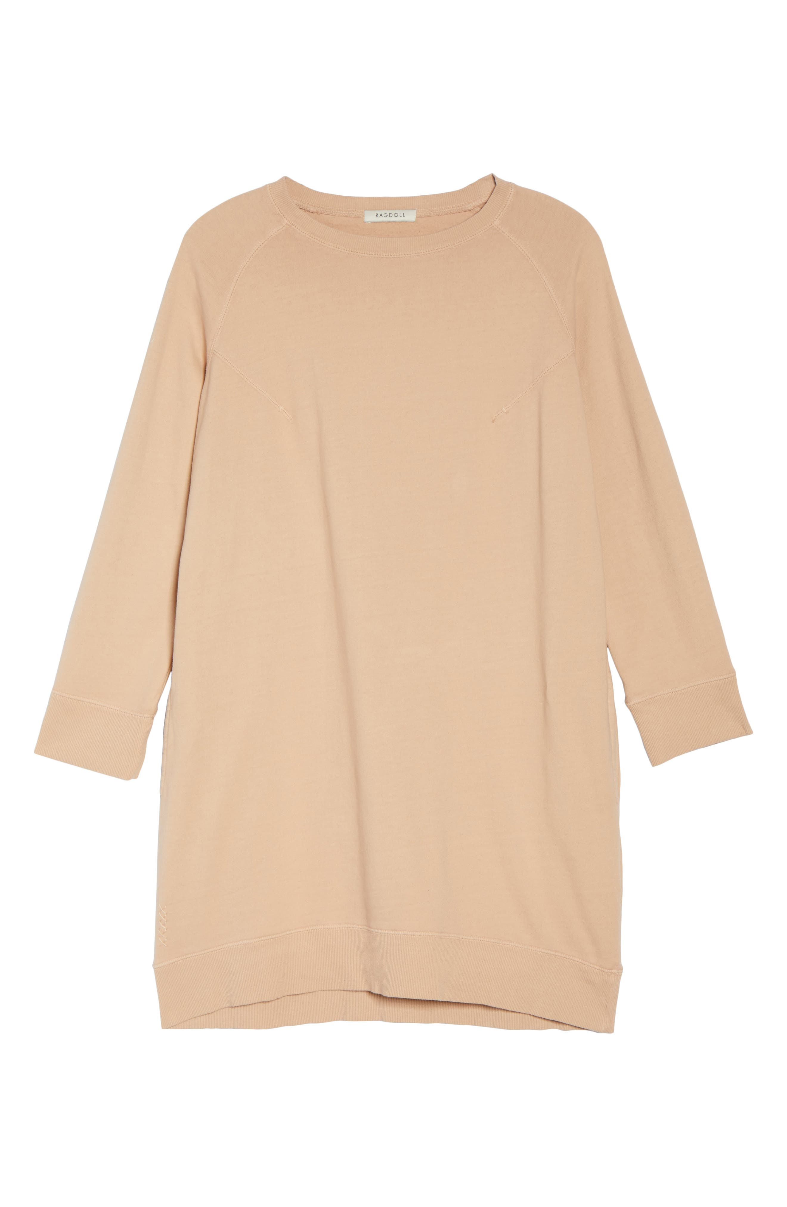 Sweatshirt Dress,                             Alternate thumbnail 6, color,                             Nude