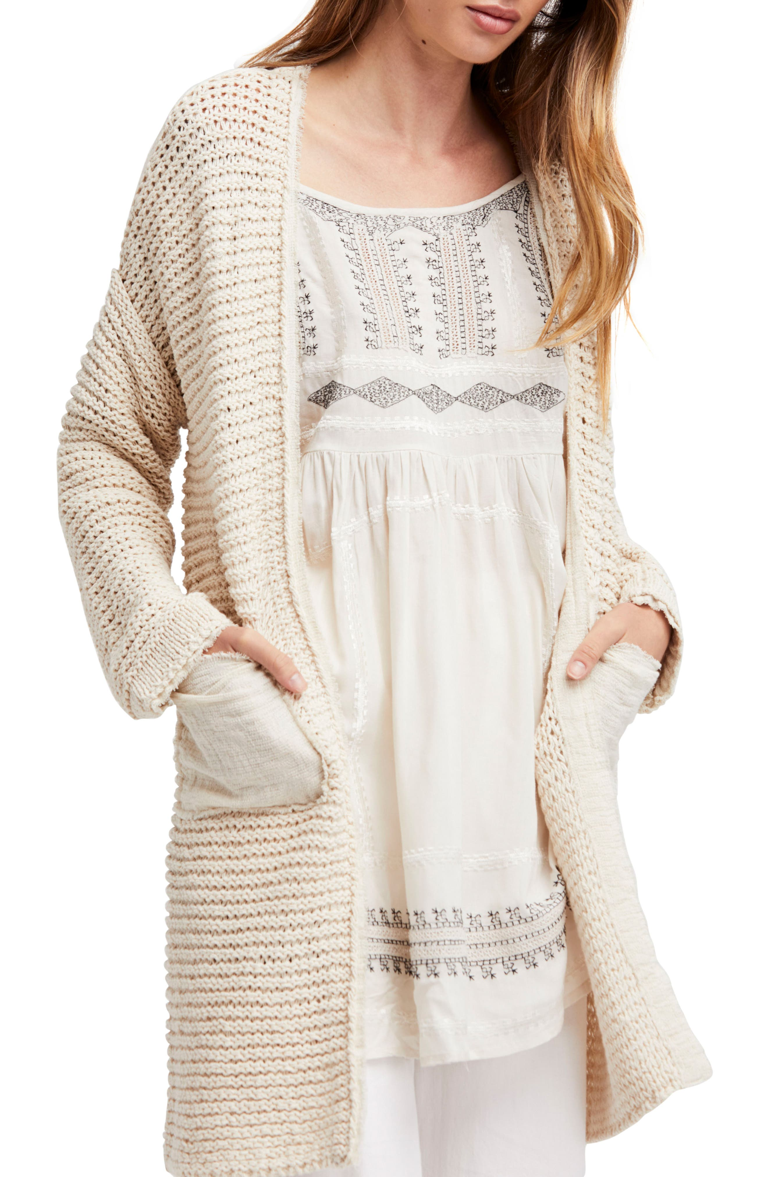 Woodstock Longline Cardigan,                             Main thumbnail 1, color,                             Ivory