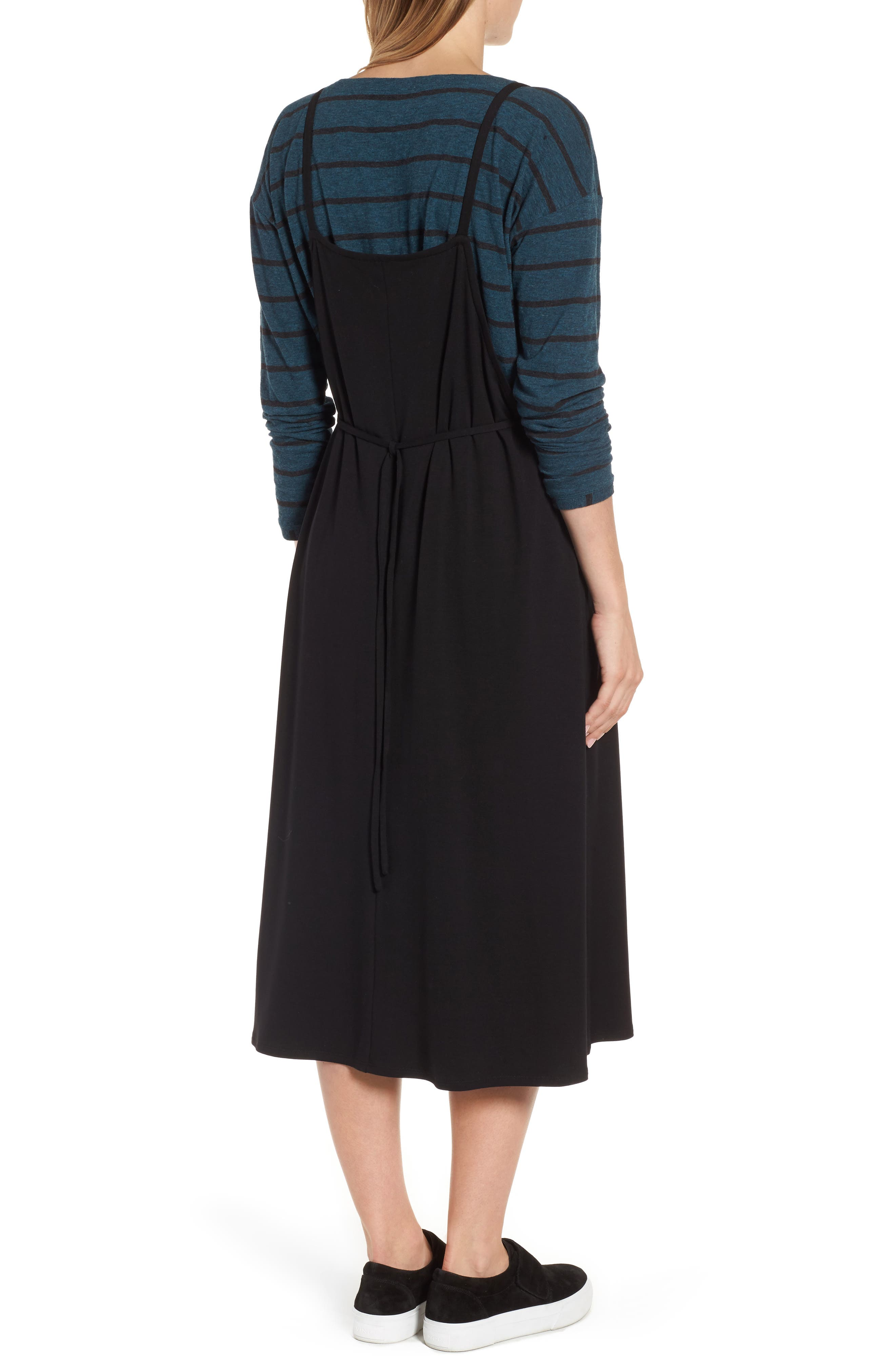 Stretch Tencel<sup>®</sup> Lyocell Jumper Dress,                             Alternate thumbnail 2, color,                             Black