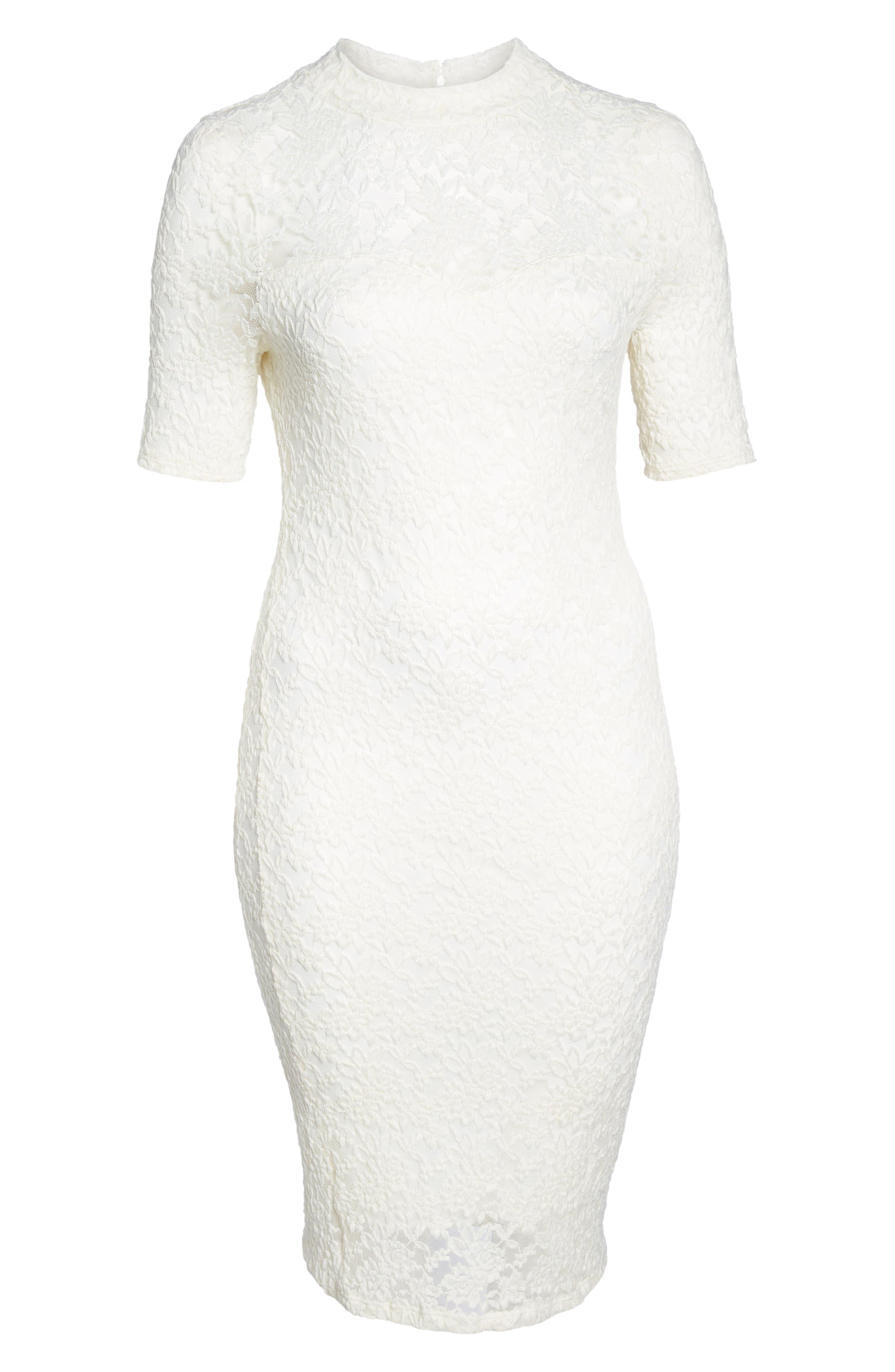 Lace Body-Con Midi Dress,                             Alternate thumbnail 6, color,                             Off White