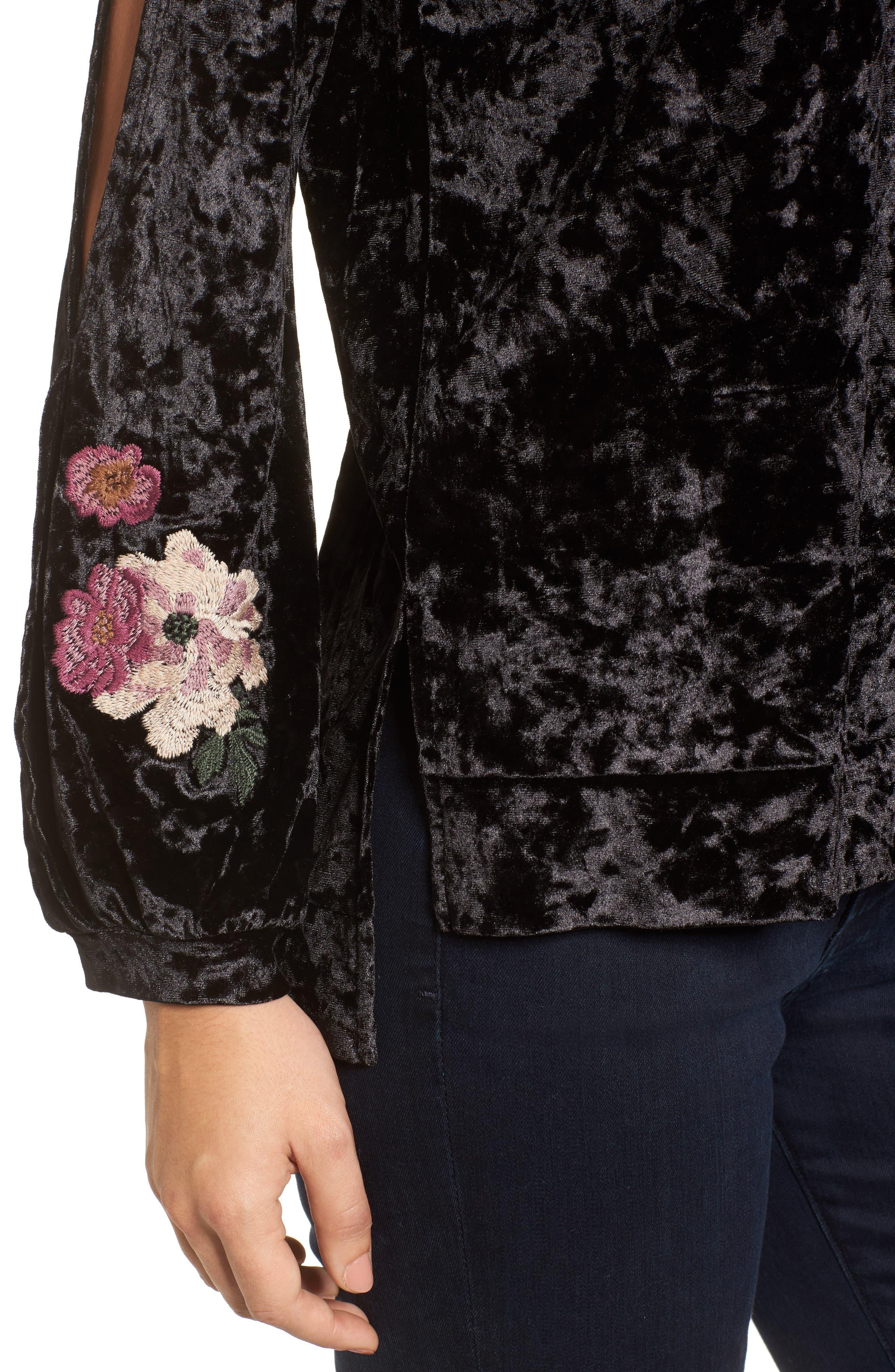 Split Sleeve Embroidered Top,                             Alternate thumbnail 4, color,                             Black