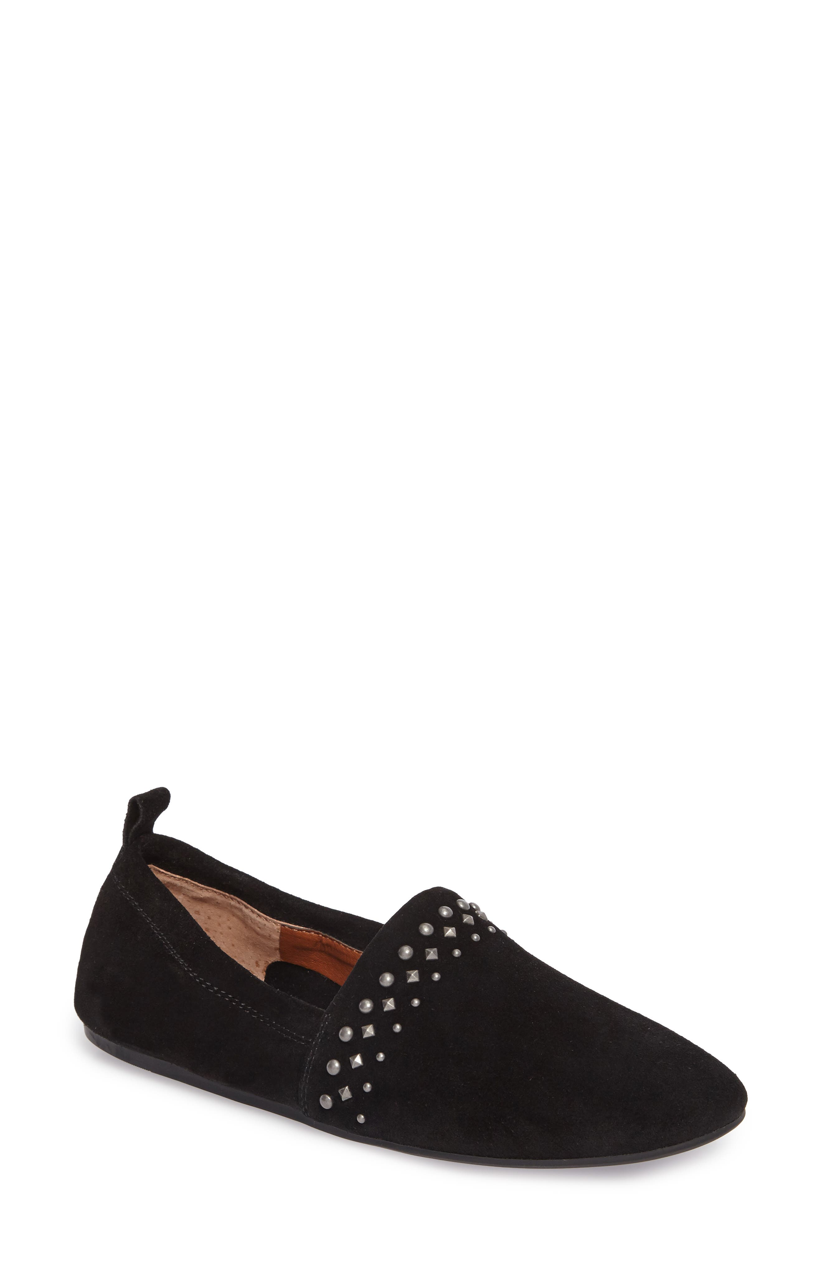 Baako Studded Flat,                             Main thumbnail 1, color,                             Black Suede