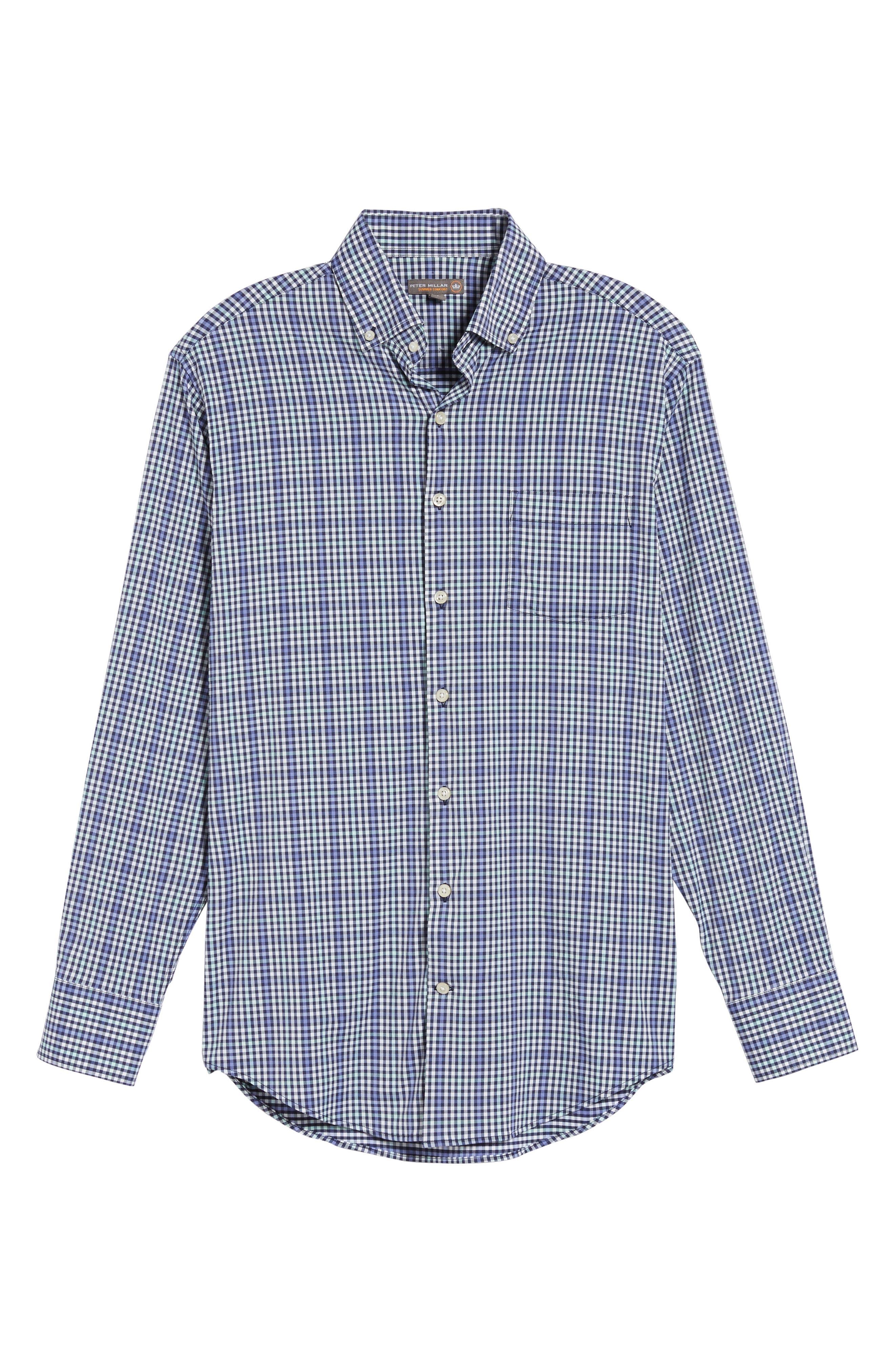 Classic Fit Collier Plaid Performance Sport Shirt,                             Alternate thumbnail 6, color,                             Thunderbird
