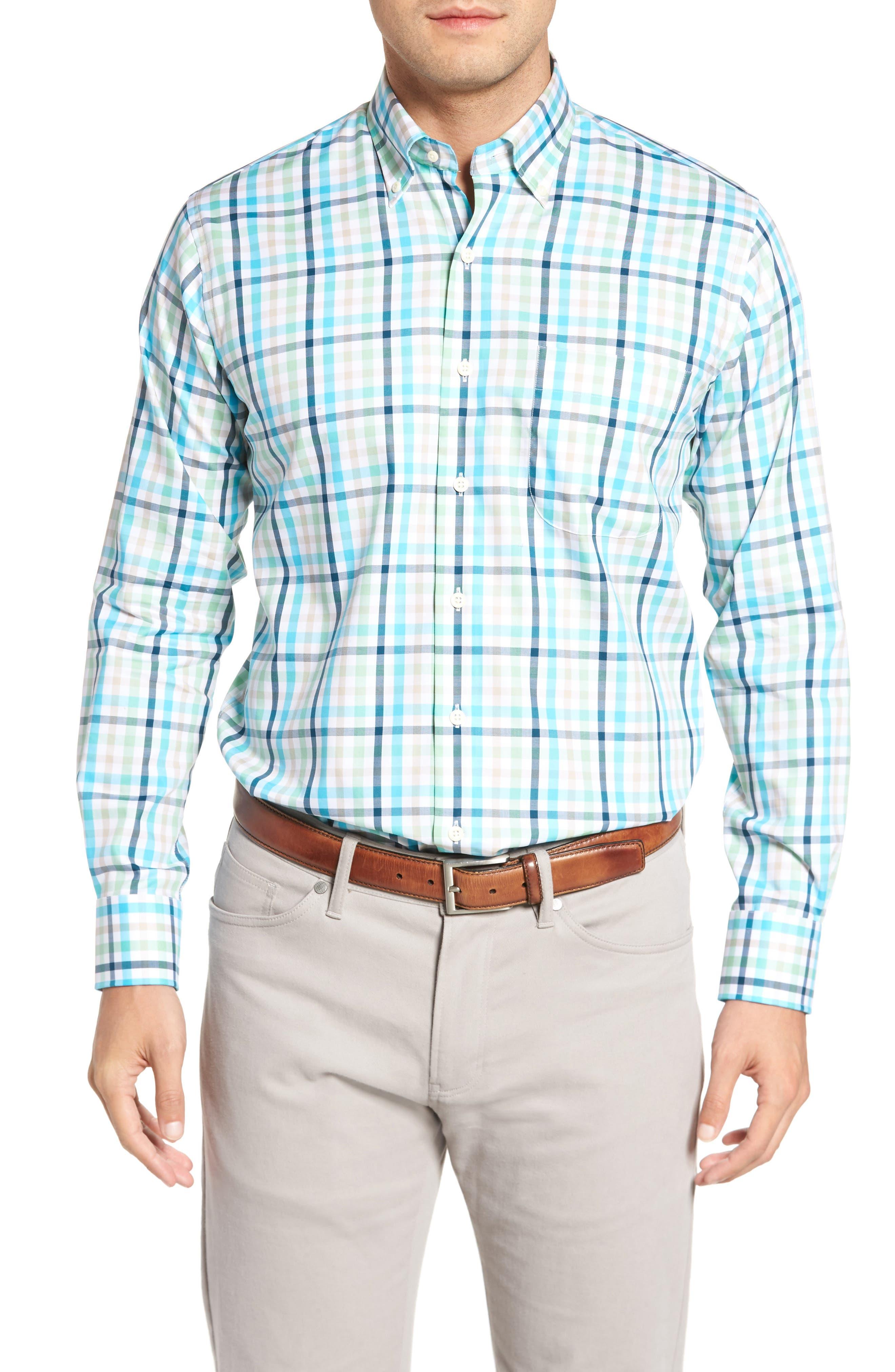 Classic Fit Crown Ease Kohala Check Sport Shirt,                         Main,                         color, Blue Fish