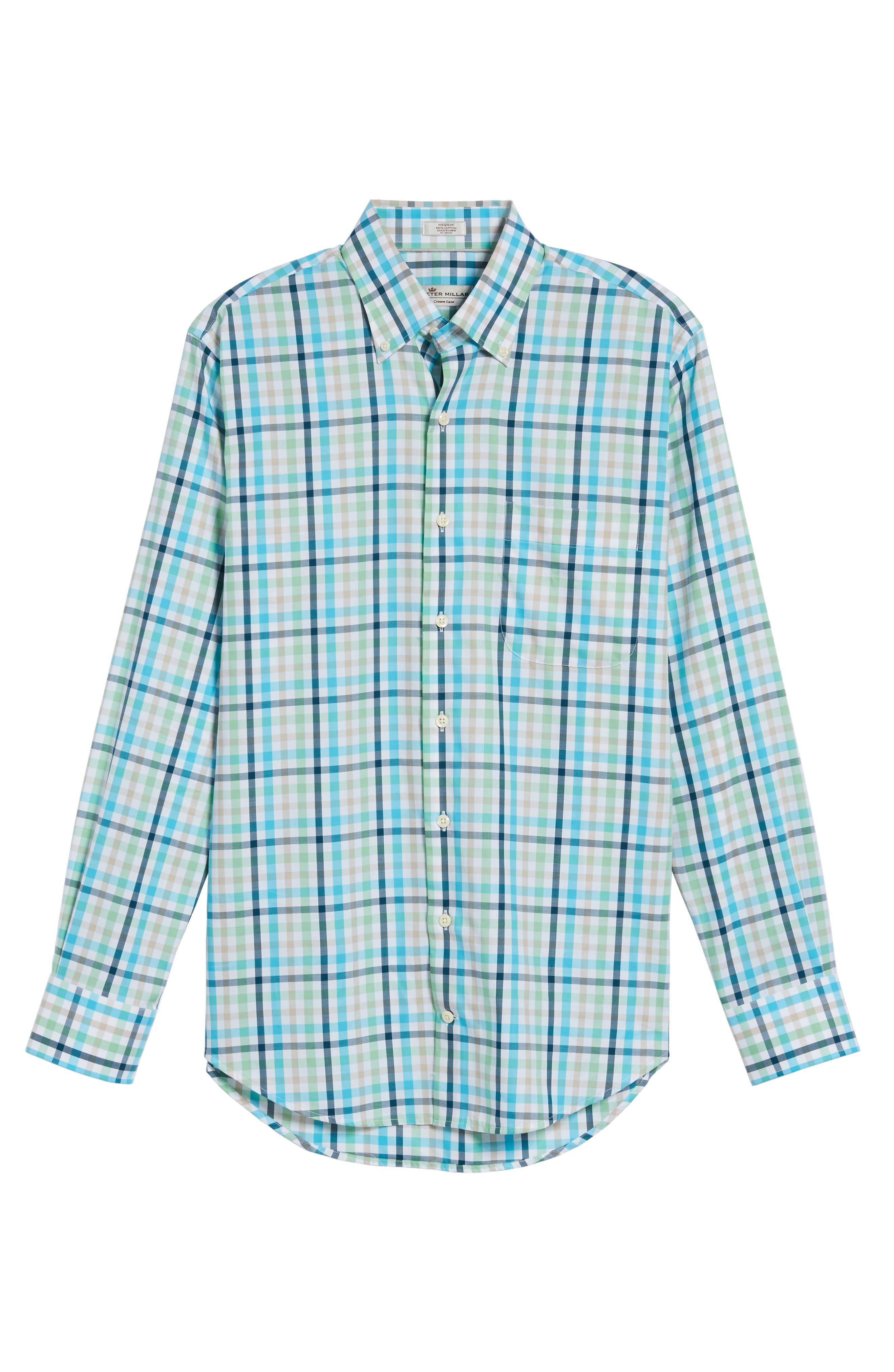 Classic Fit Crown Ease Kohala Check Sport Shirt,                             Alternate thumbnail 6, color,                             Blue Fish