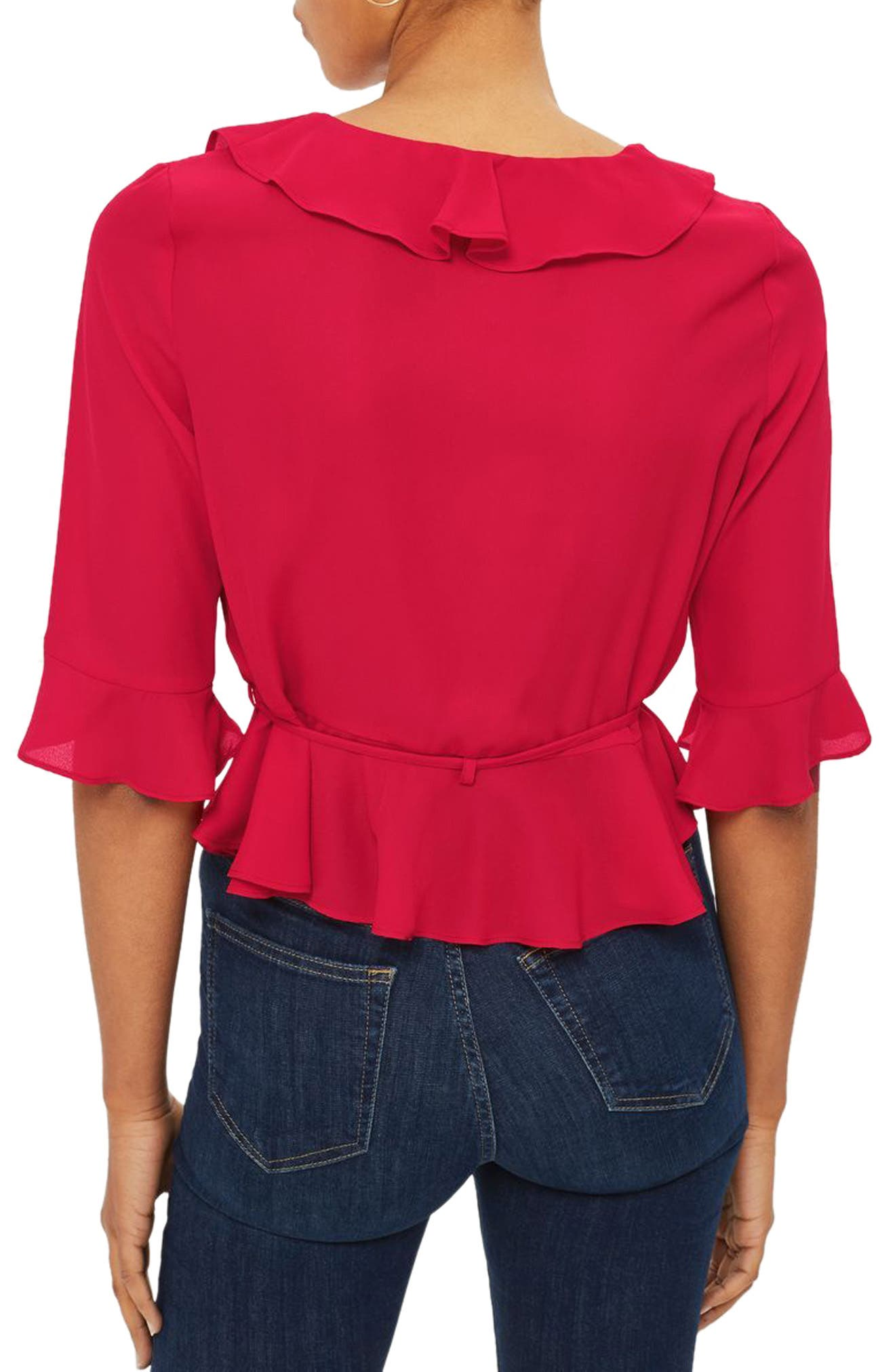 Phoebe Frilly Blouse,                             Alternate thumbnail 2, color,                             Red