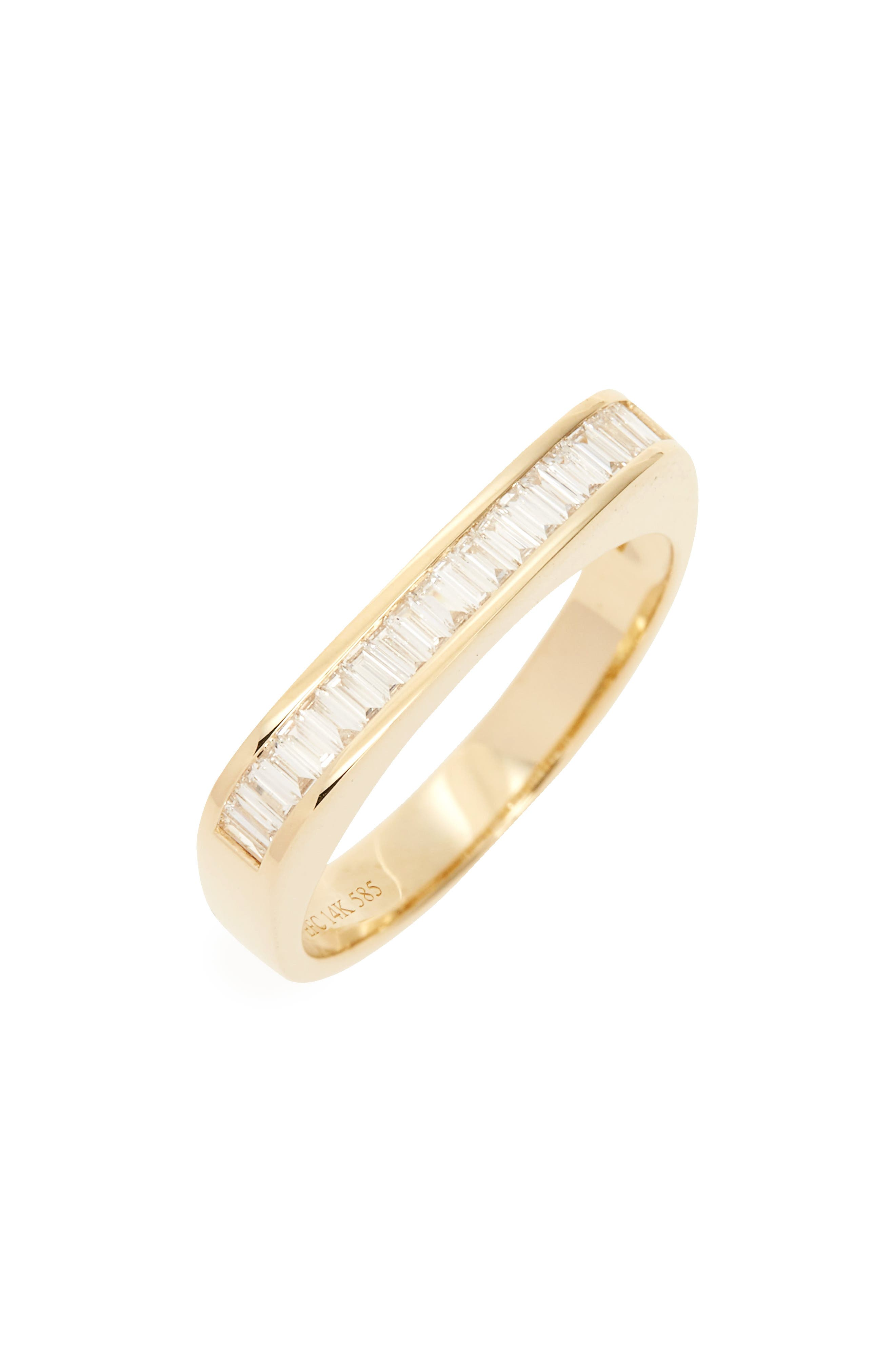 Baguette Diamond Band,                             Main thumbnail 1, color,                             Yellow Gold