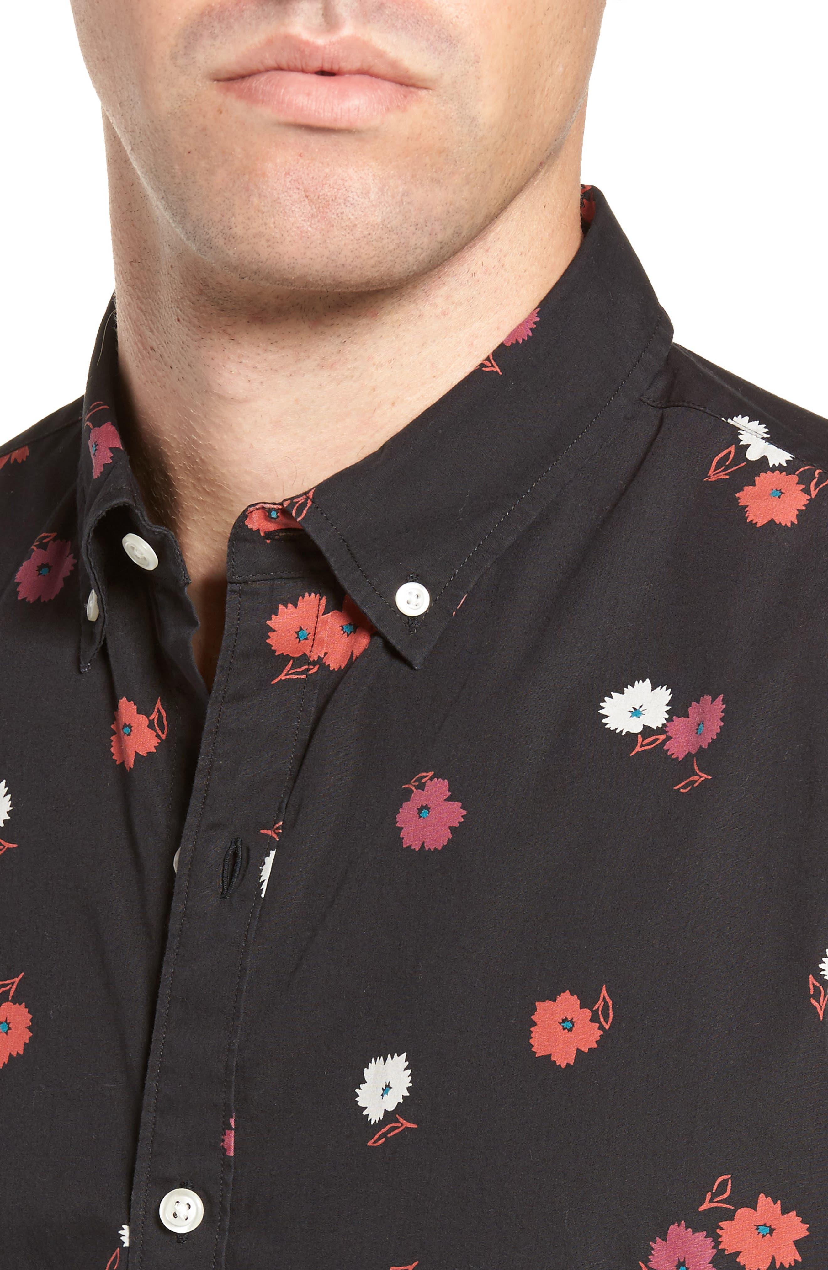 Slim Fit Floral Print Sport Shirt,                             Alternate thumbnail 4, color,                             Arosa Slope Floral