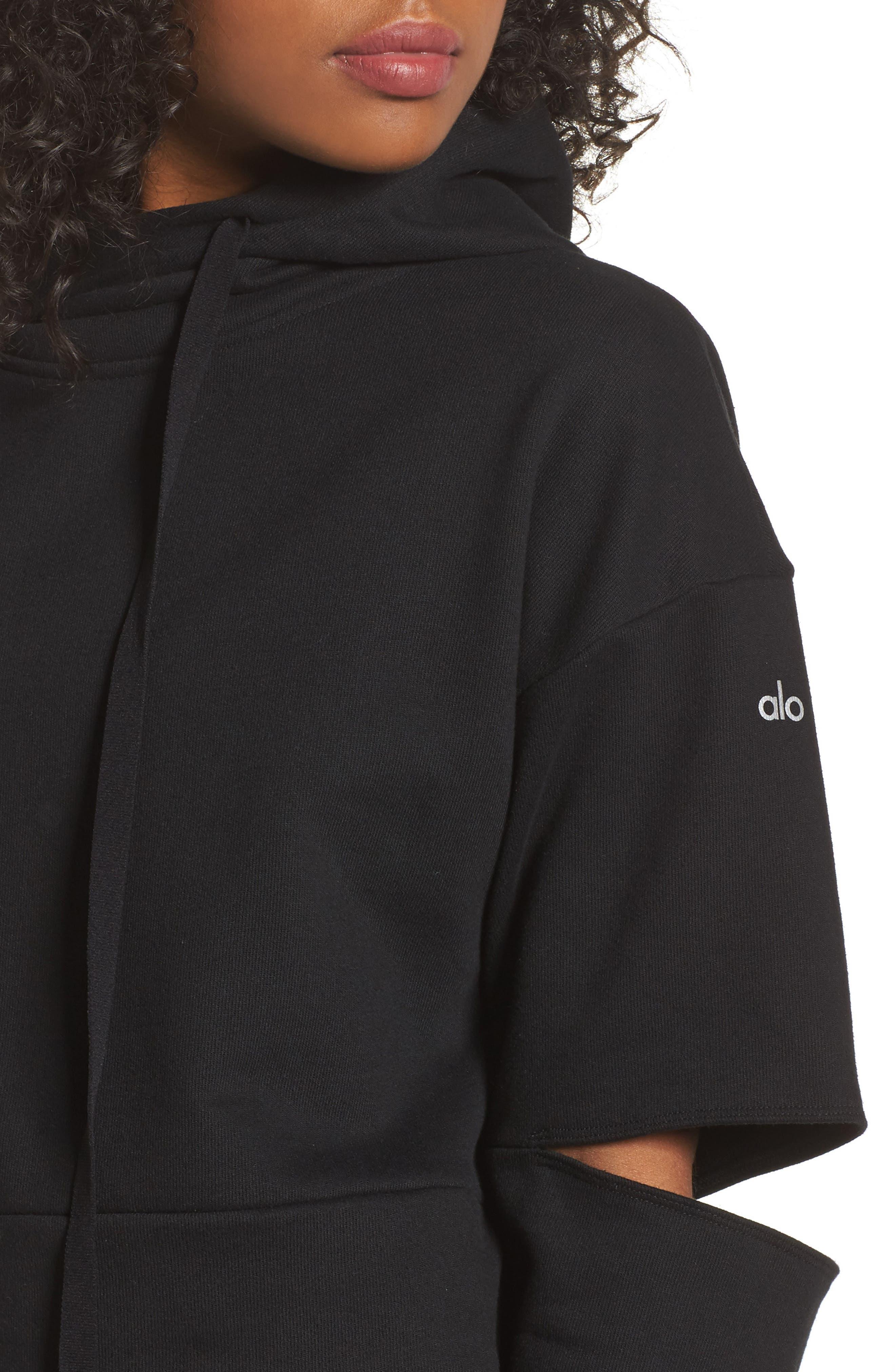 Peak Cutout Long Sleeve Pullover Crop Hoodie,                             Alternate thumbnail 6, color,                             Black