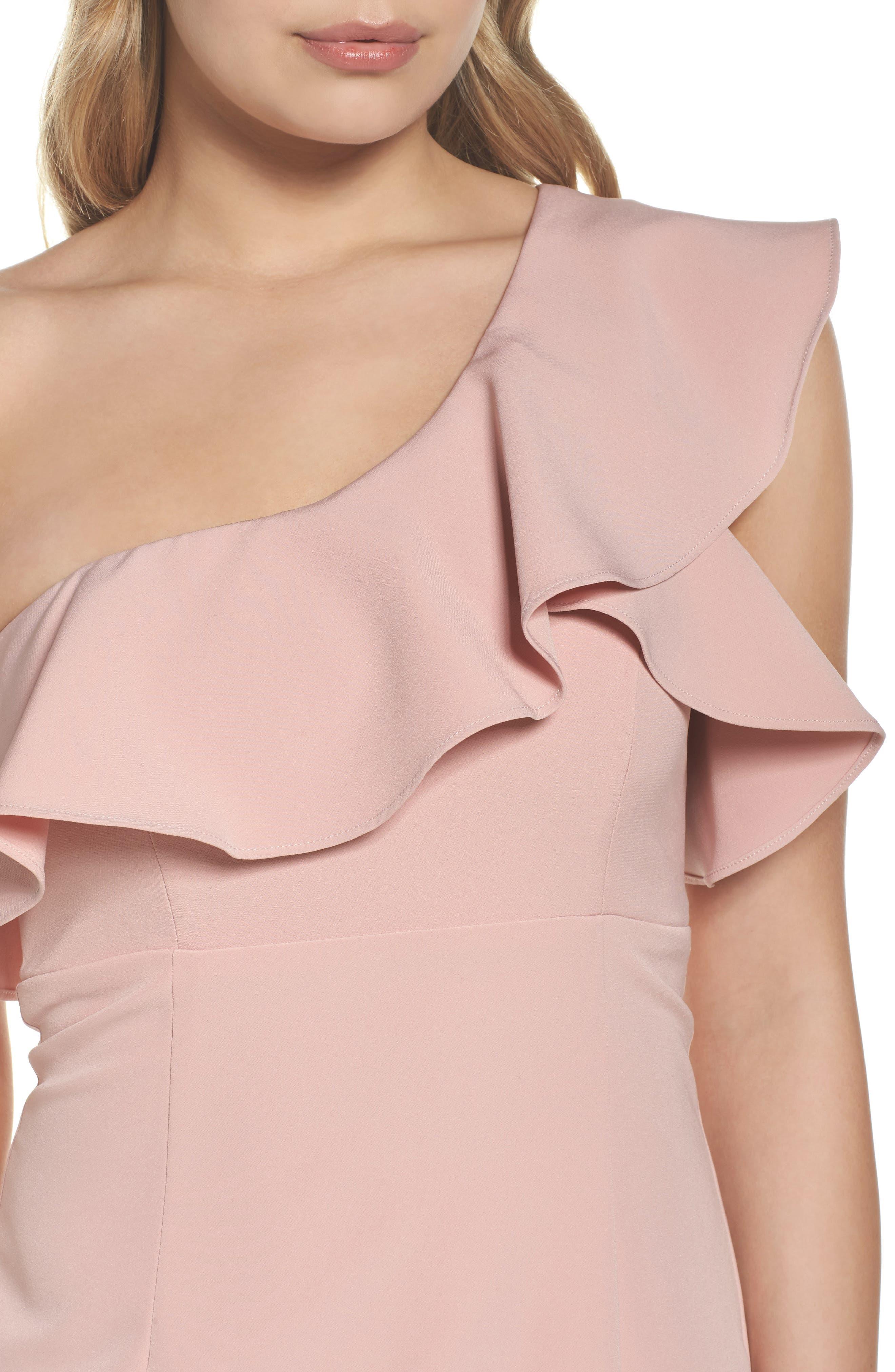 One-Shoulder Ruffle Sheath Dress,                             Alternate thumbnail 4, color,                             Pastel