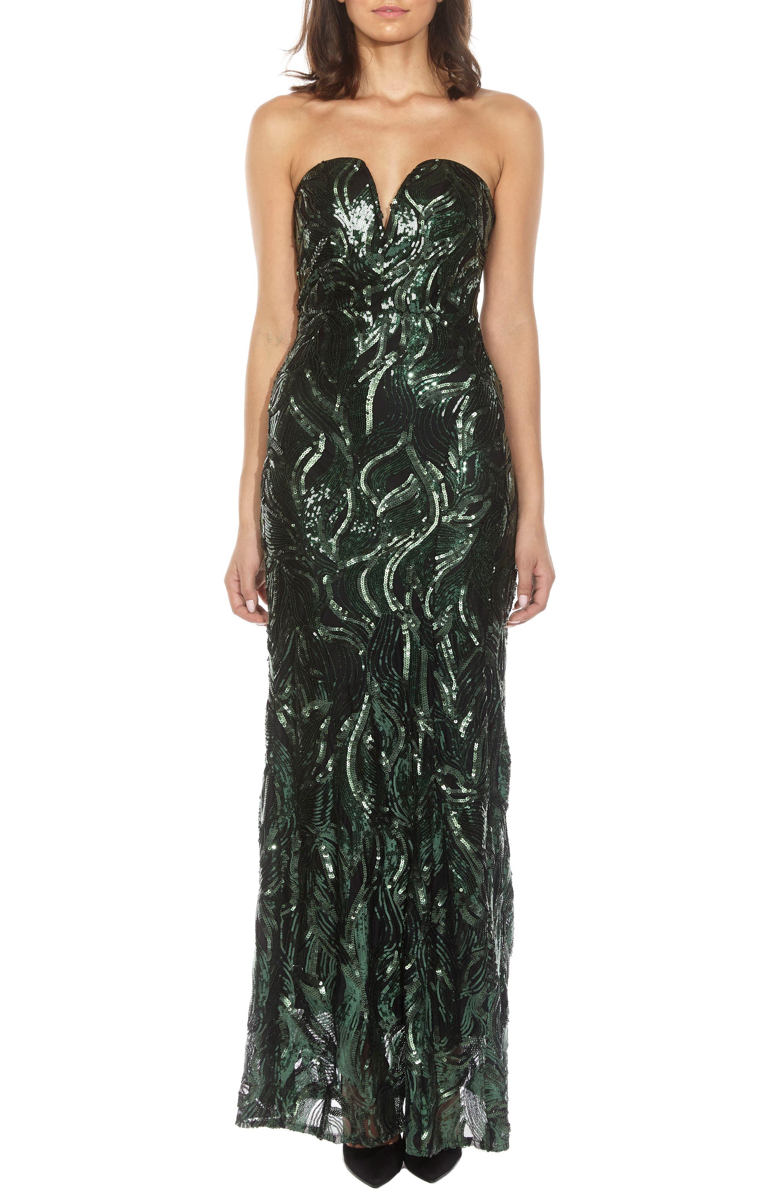 Gaynor Sequin Strapless Maxi Dress,                             Main thumbnail 1, color,                             Green