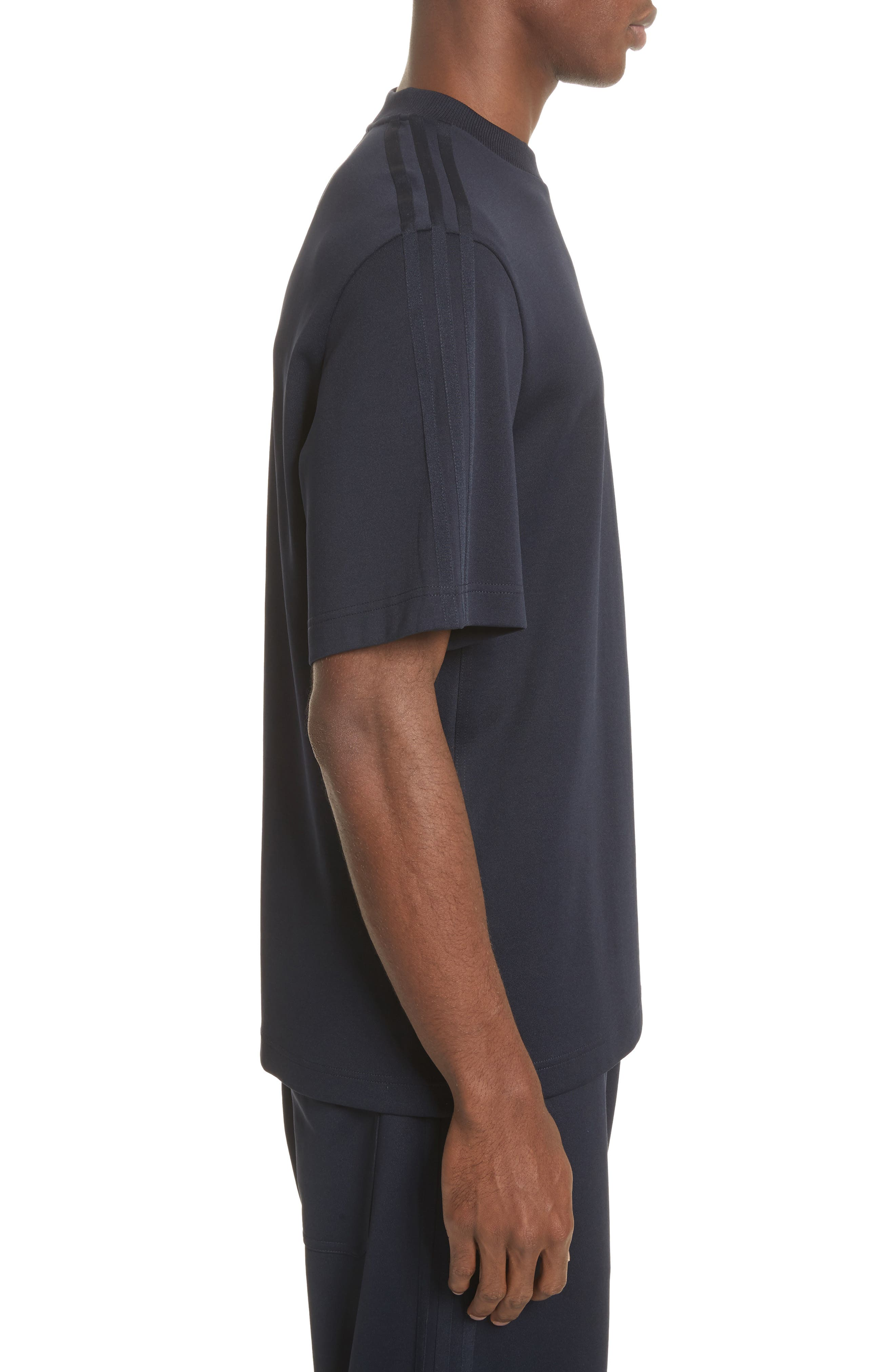 x adidas Tonal Stripe Crewneck T-Shirt,                             Alternate thumbnail 3, color,                             Navy