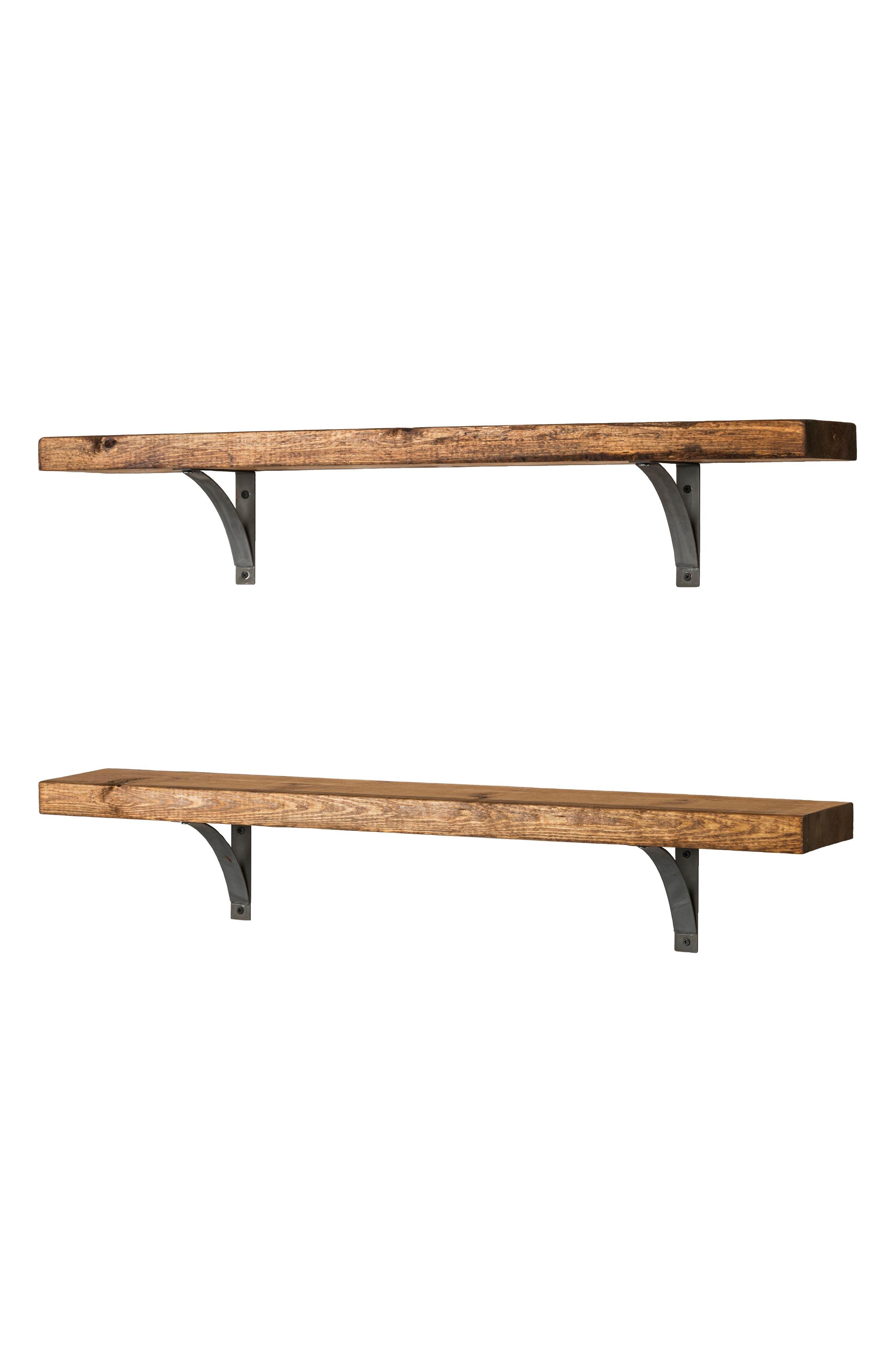 Grace Set of 2 Bracket Shelves,                             Alternate thumbnail 3, color,                             Walnut