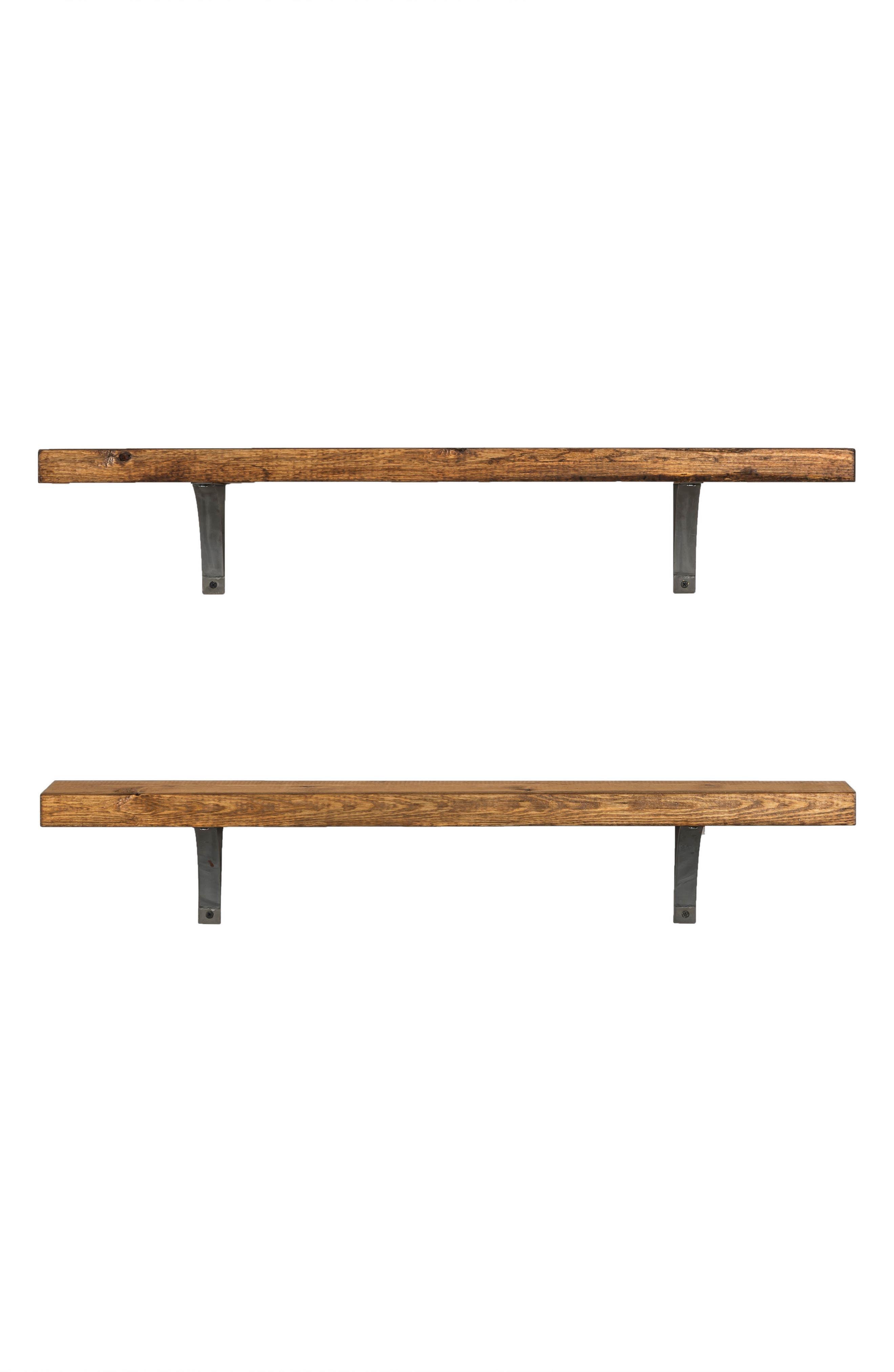 Grace Set of 2 Bracket Shelves,                         Main,                         color, Walnut