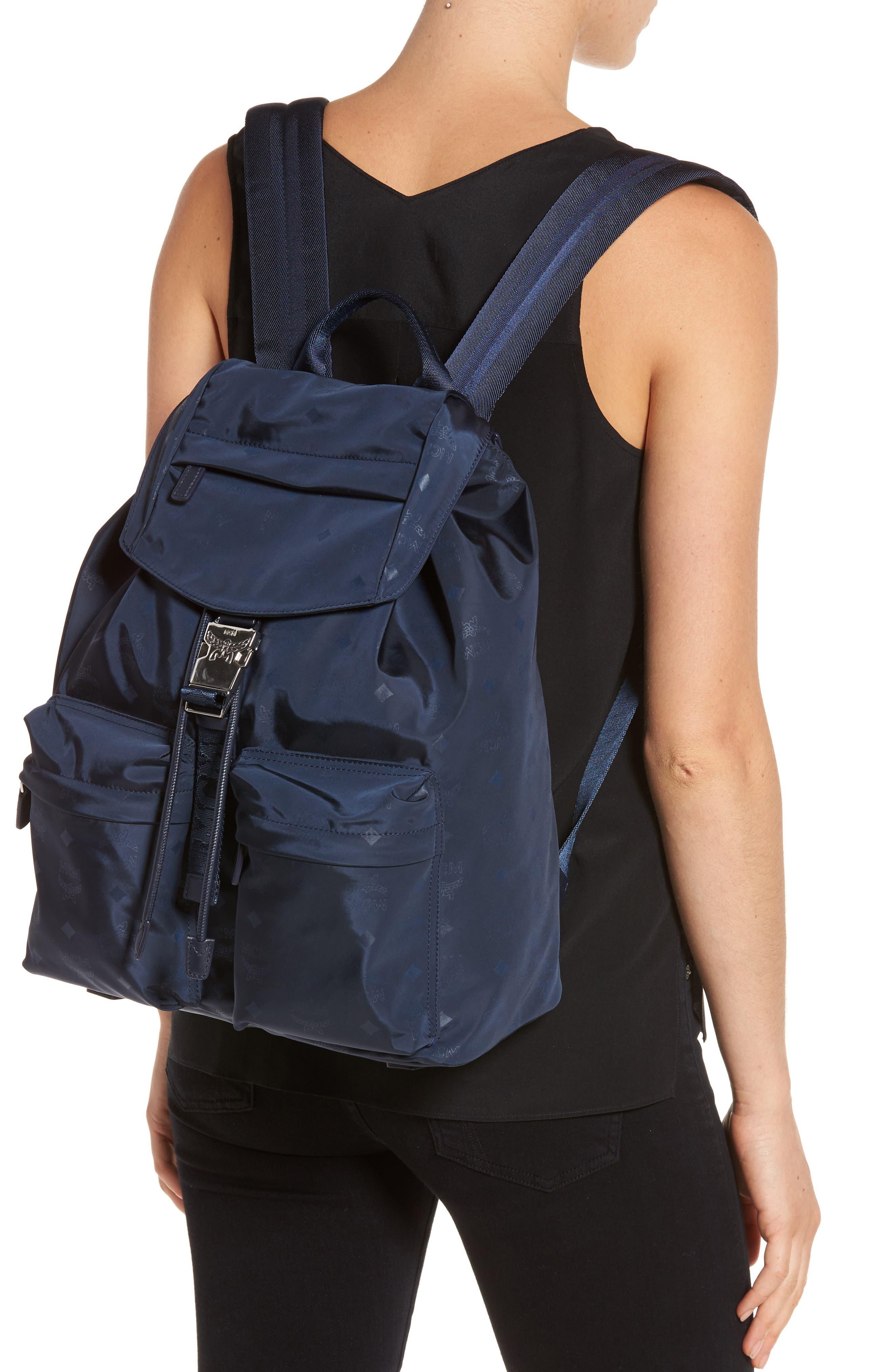 Small Dieter Monogrammed Nylon Backpack,                             Alternate thumbnail 2, color,                             Navy