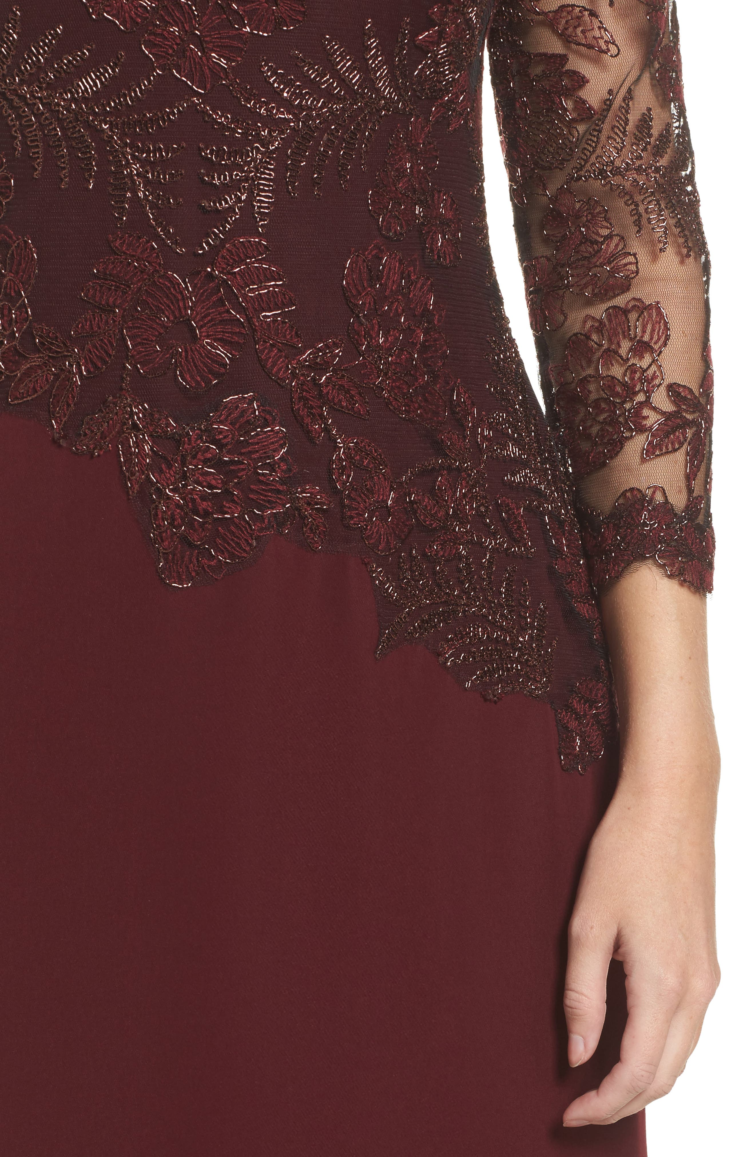 Embroidered Woven Gown,                             Alternate thumbnail 4, color,                             Raisin