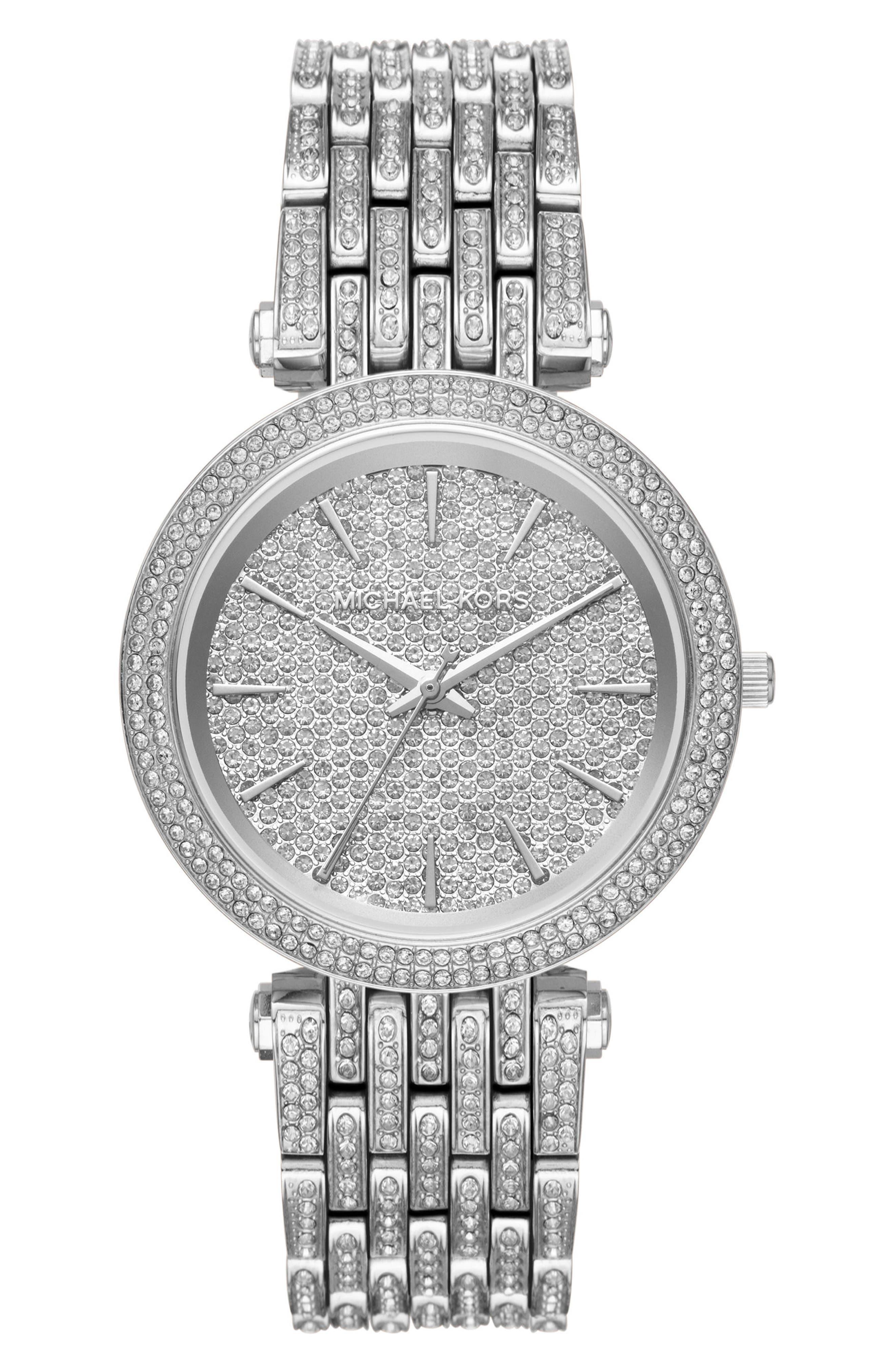 Main Image - Michael Kors Darci Crystal Bezel Braclet Watch, 39mm