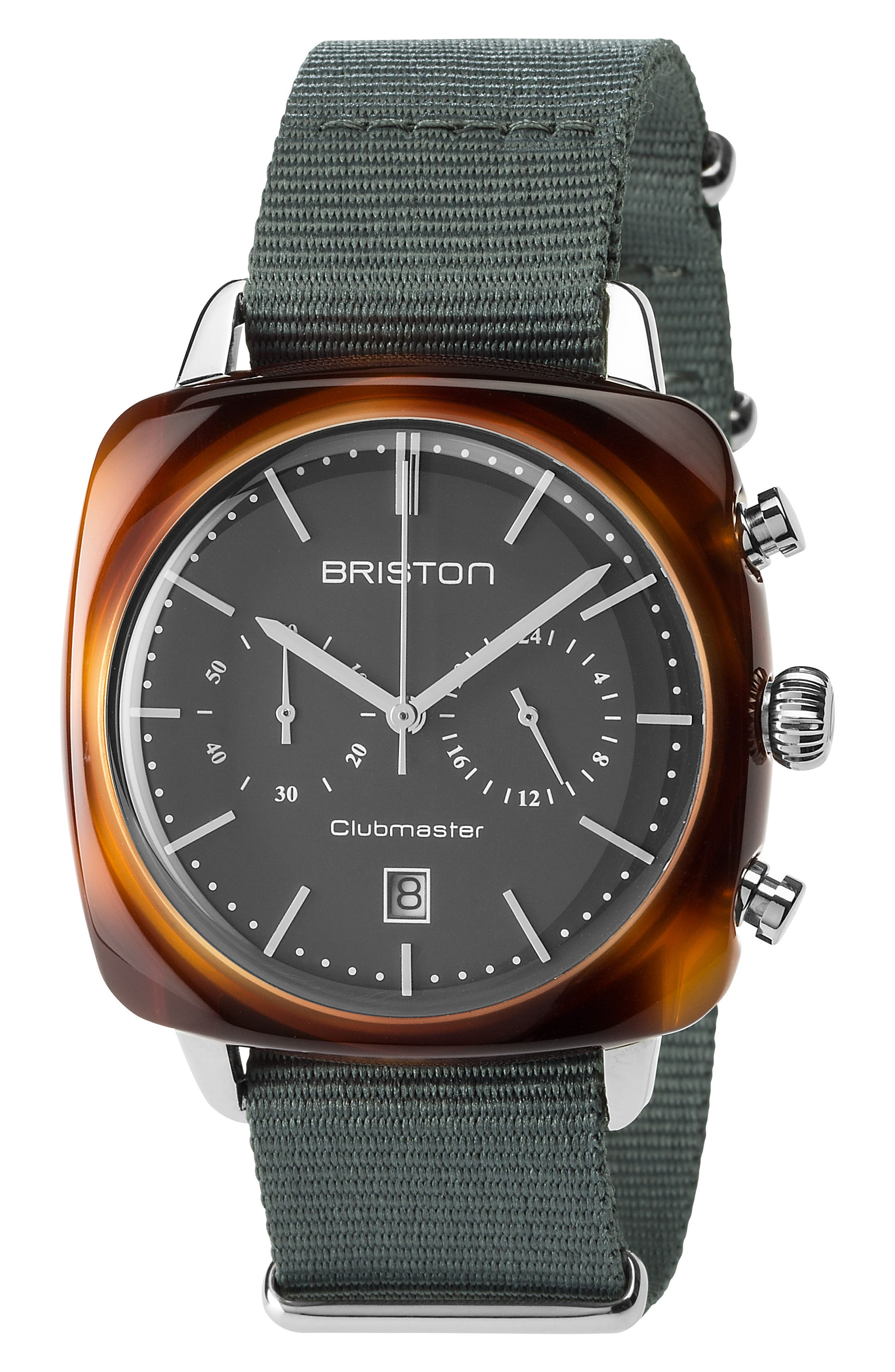 Clubmaster Vintage Chronograph Nylon Strap Watch, 40mm x 40mm,                             Main thumbnail 1, color,                             Grey/ Tort Acetate