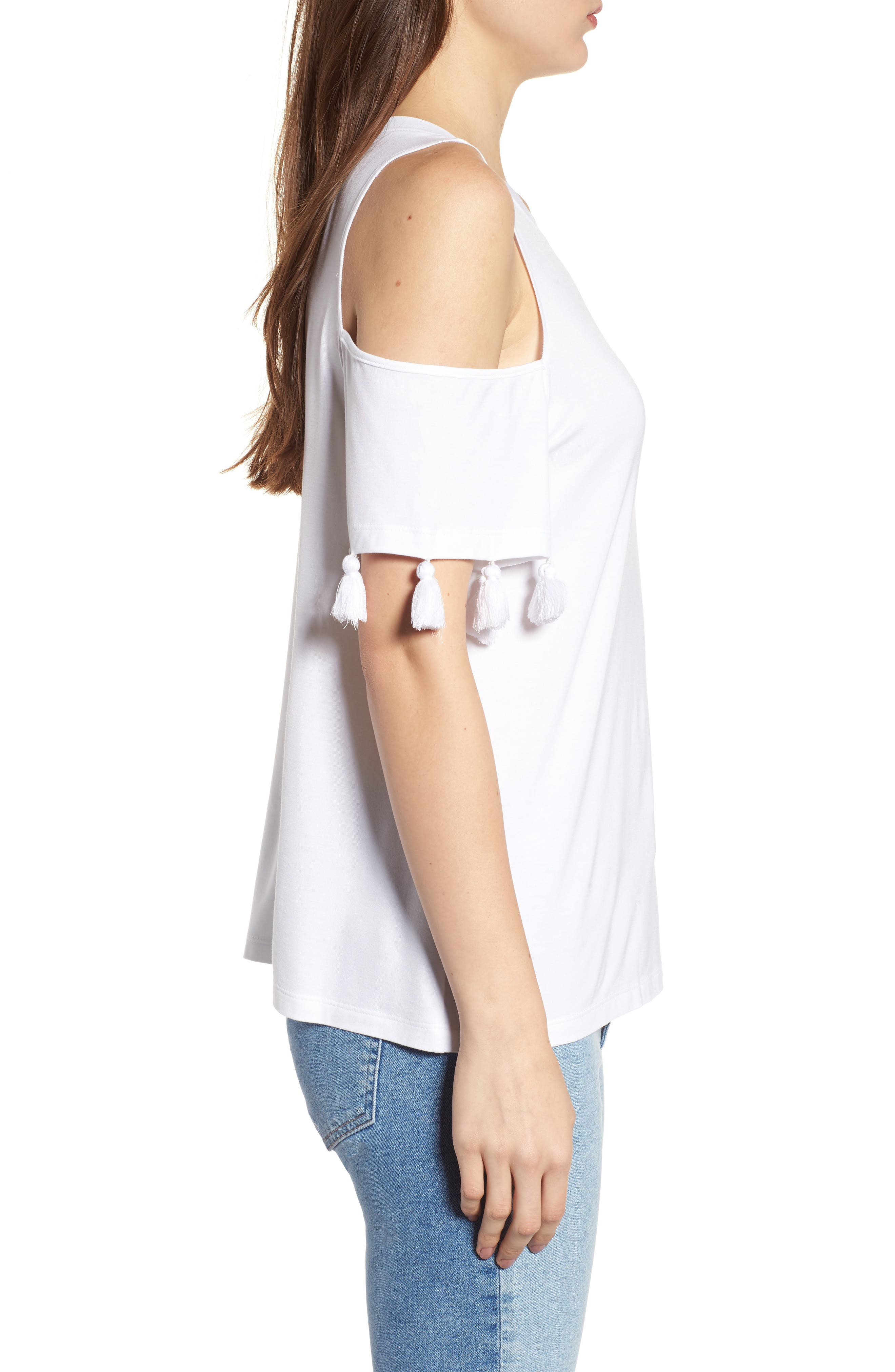 Theora Cold Shoulder Tee,                             Alternate thumbnail 3, color,                             White