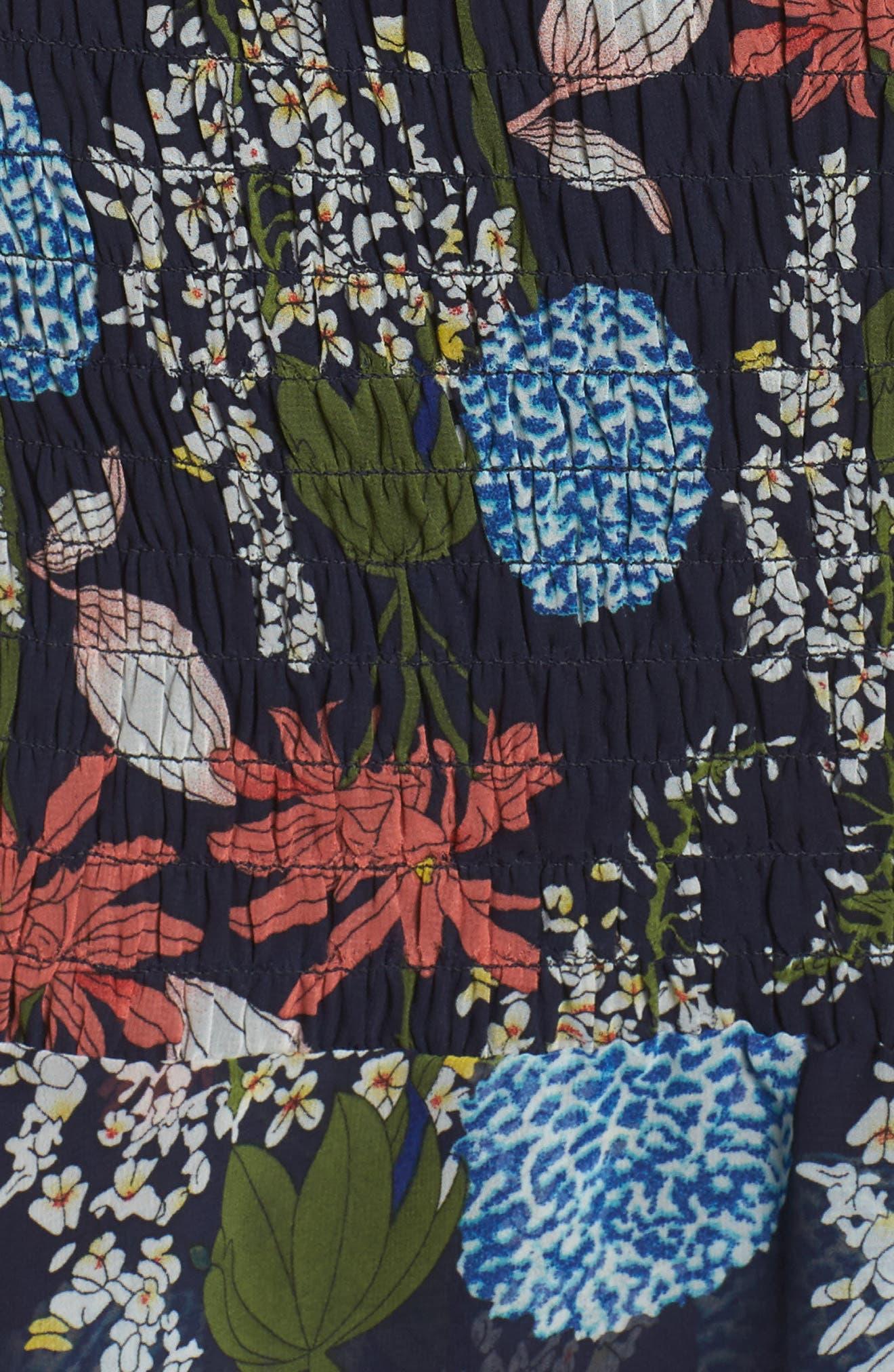 Tiered Blouson Dress,                             Alternate thumbnail 5, color,                             Navy Stella Floral